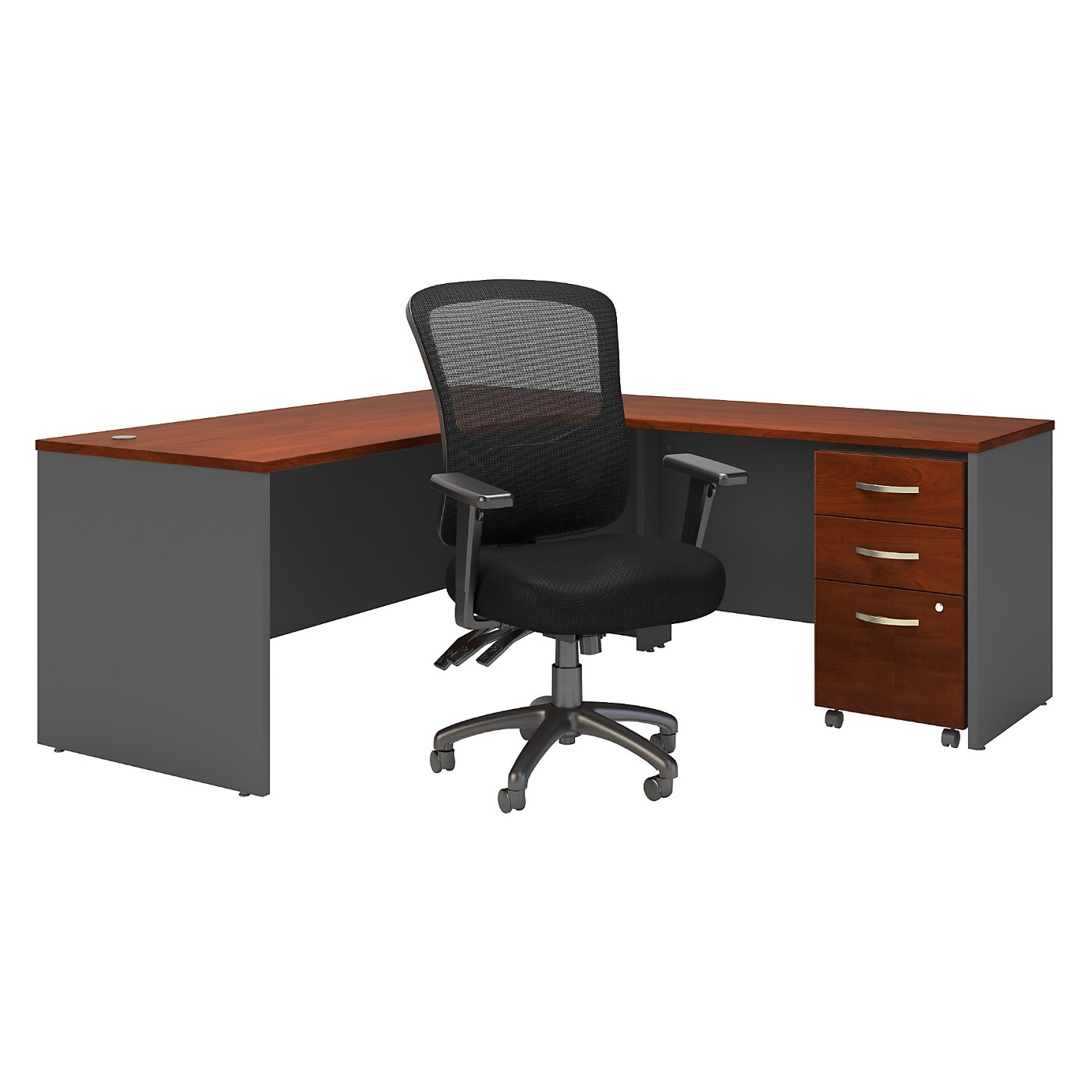 BUSH BUSINESS FURNITURE SERIES C 72W L SHAPED DESK WITH MOBILE FILE CABINET AND HIGH BACK MULTIFUNCTION OFFICE CHAIR. FREE SHIPPING SALE DEDUCT 10% MORE ENTER '10percent' IN COUPON CODE BOX WHILE CHECKING OUT.
