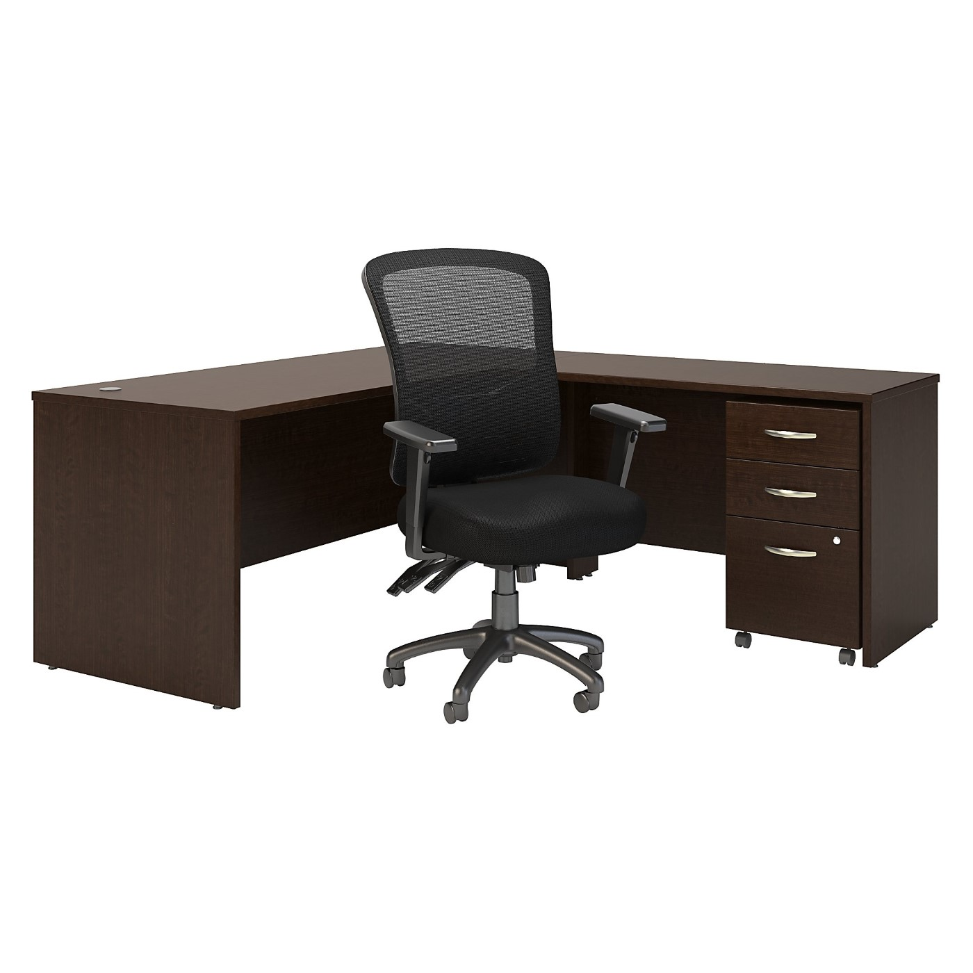 BUSH BUSINESS FURNITURE SERIES C 72W L SHAPED DESK WITH MOBILE FILE CABINET AND HIGH BACK MULTIFUNCTION OFFICE CHAIR. FREE SHIPPING