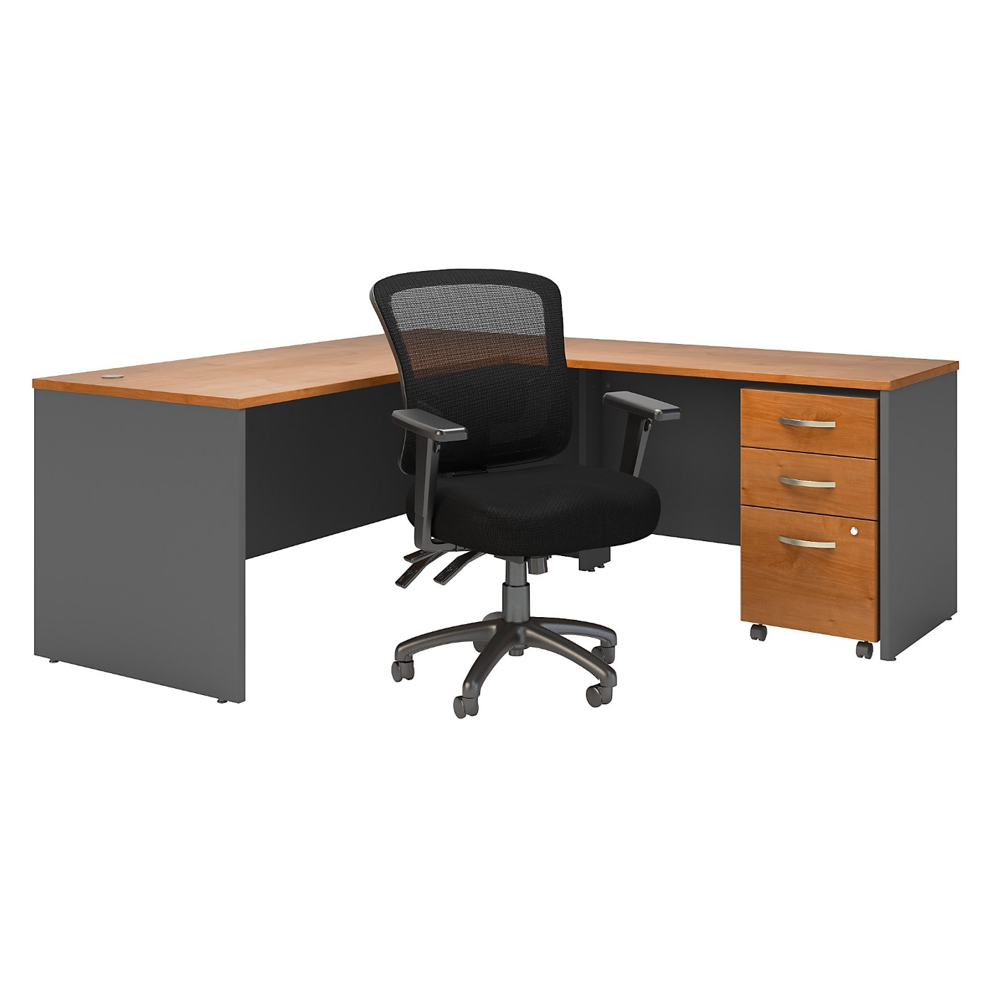BUSH BUSINESS FURNITURE SERIES C 72W L SHAPED DESK WITH MOBILE FILE CABINET AND MID BACK MULTIFUNCTION OFFICE CHAIR. FREE SHIPPING