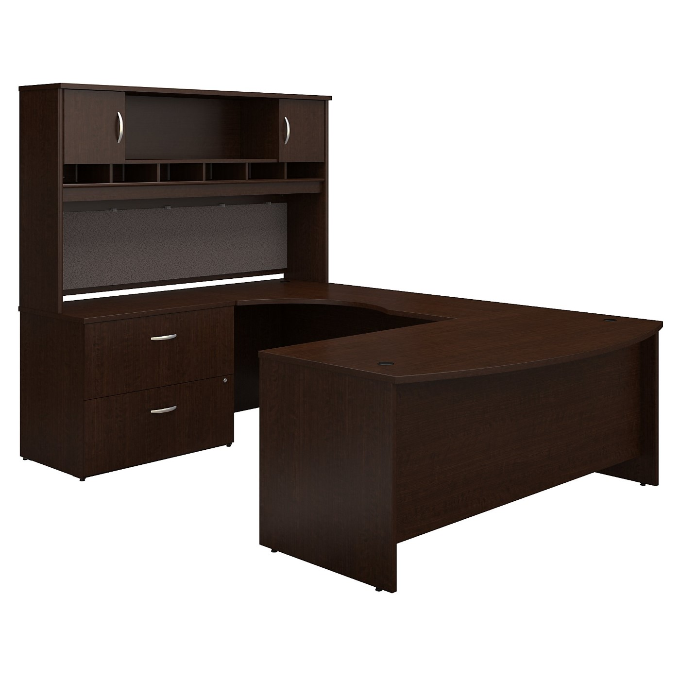 BUSH BUSINESS FURNITURE SERIES C 72W LEFT HANDED BOW FRONT U SHAPED DESK WITH HUTCH AND STORAGE. FREE SHIPPING SALE DEDUCT 10% MORE ENTER '10percent' IN COUPON CODE BOX WHILE CHECKING OUT.