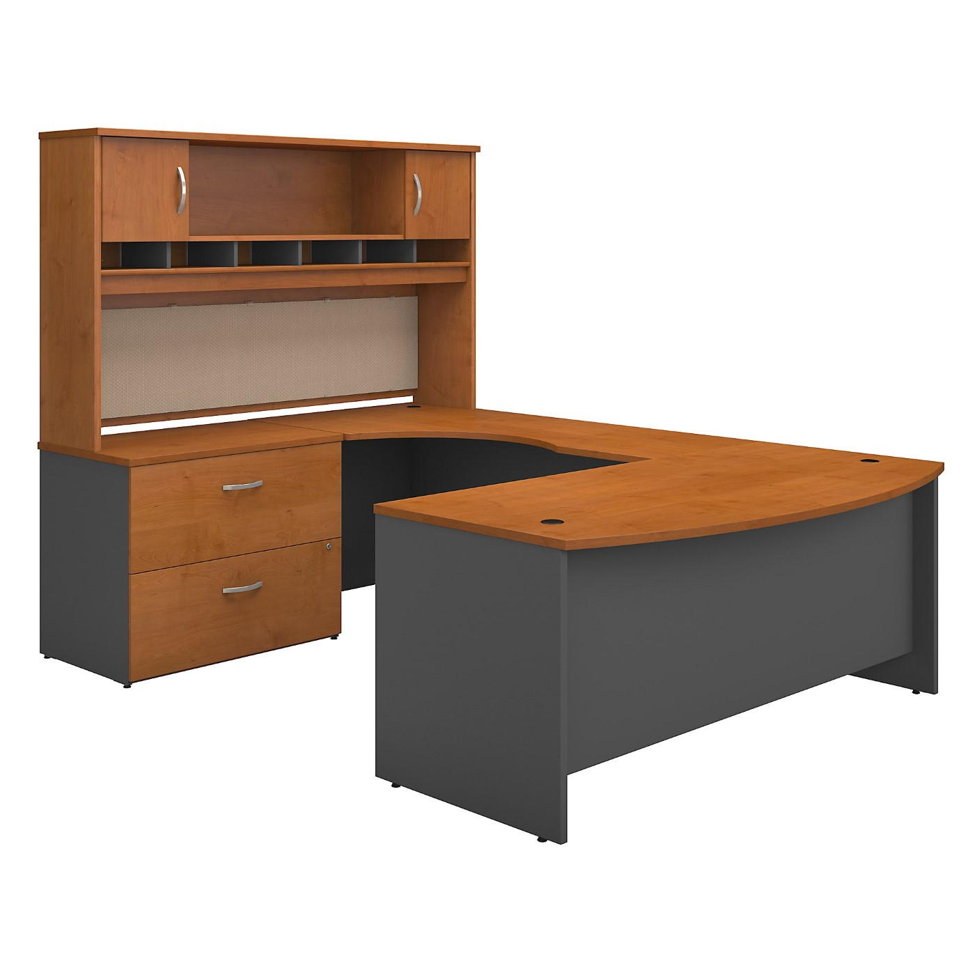 BUSH BUSINESS FURNITURE SERIES C 72W LEFT HANDED BOW FRONT U SHAPED DESK WITH HUTCH AND STORAGE. FREE SHIPPING
