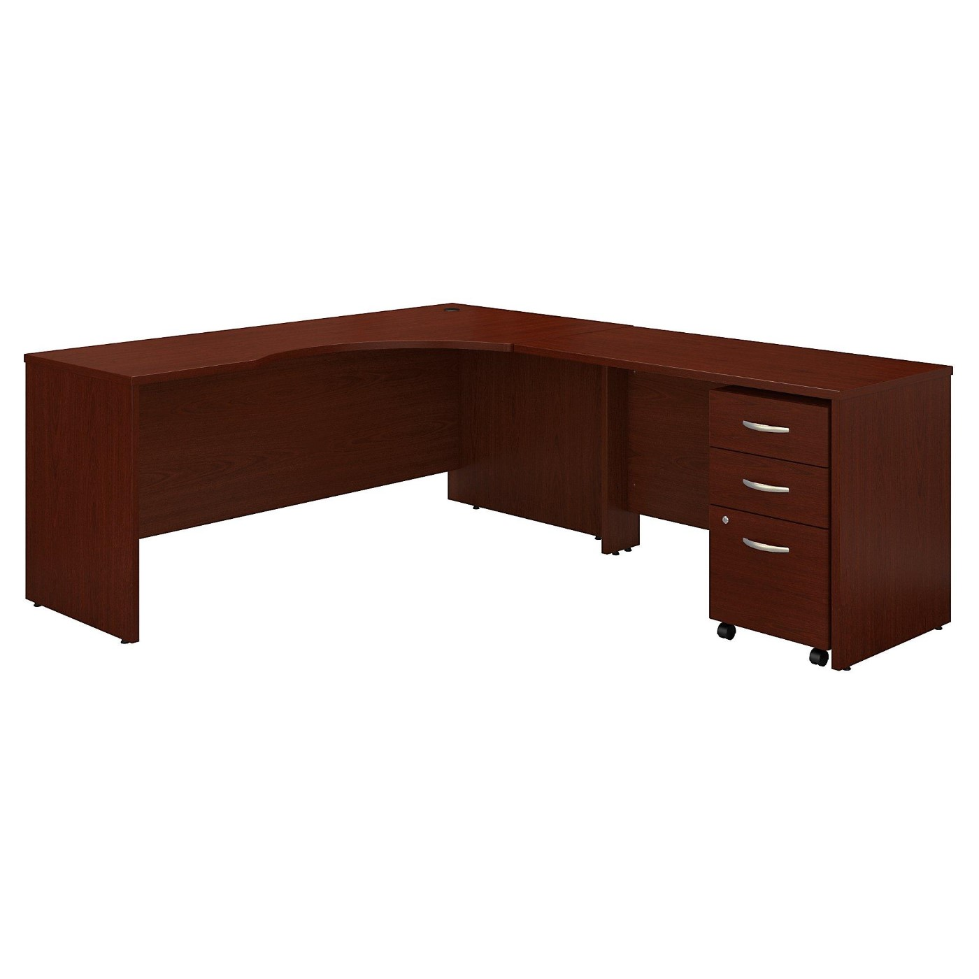 BUSH BUSINESS FURNITURE SERIES C 72W LEFT HANDED CORNER DESK WITH 48W RETURN AND MOBILE FILE CABINET. FREE SHIPPING  VIDEO BELOW.
