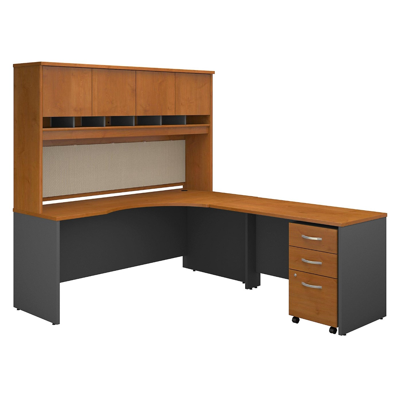 BUSH BUSINESS FURNITURE SERIES C 72W LEFT HANDED CORNER DESK WITH HUTCH AND MOBILE FILE CABINET. FREE SHIPPING  VIDEO BELOW.
