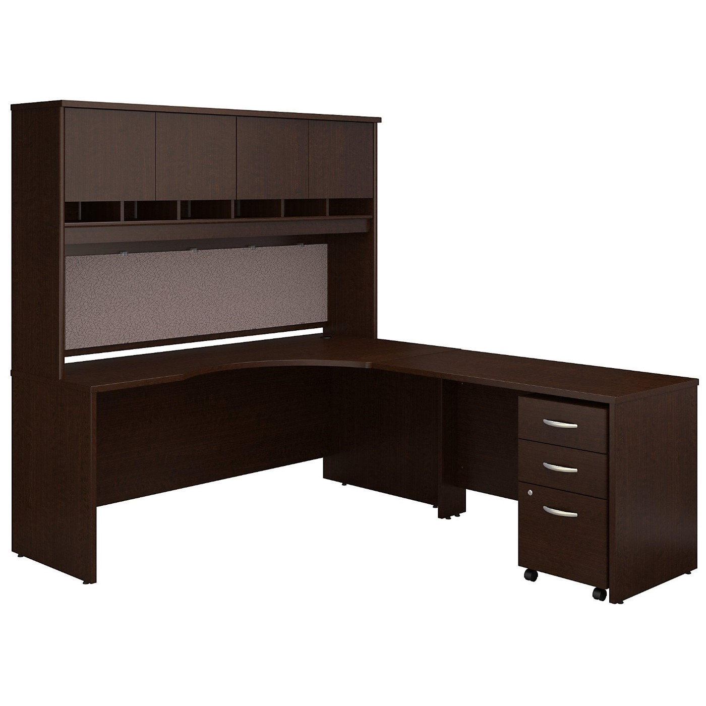 Bush Business Furniture Series C 72w Left Handed Corner Desk With Hutch And Mobile File Cabinet