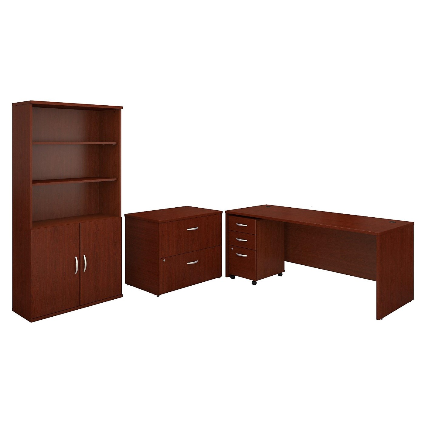 BUSH BUSINESS FURNITURE SERIES C 72W OFFICE DESK WITH BOOKCASE AND FILE CABINETS. FREE SHIPPING  VIDEO BELOW.