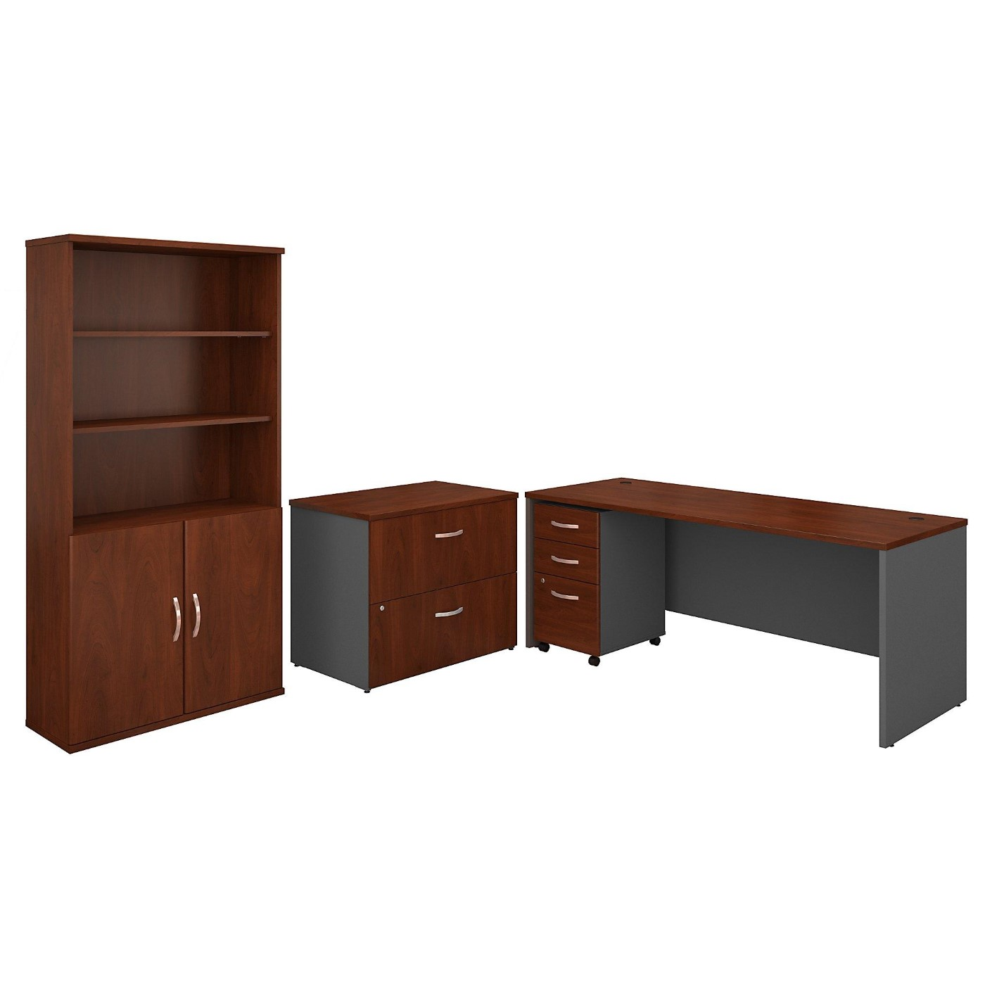 BUSH BUSINESS FURNITURE SERIES C 72W OFFICE DESK WITH BOOKCASE AND FILE CABINETS. FREE SHIPPING  VIDEO BELOW.  SALE DEDUCT 10% MORE ENTER '10percent' IN COUPON CODE BOX WHILE CHECKING OUT.