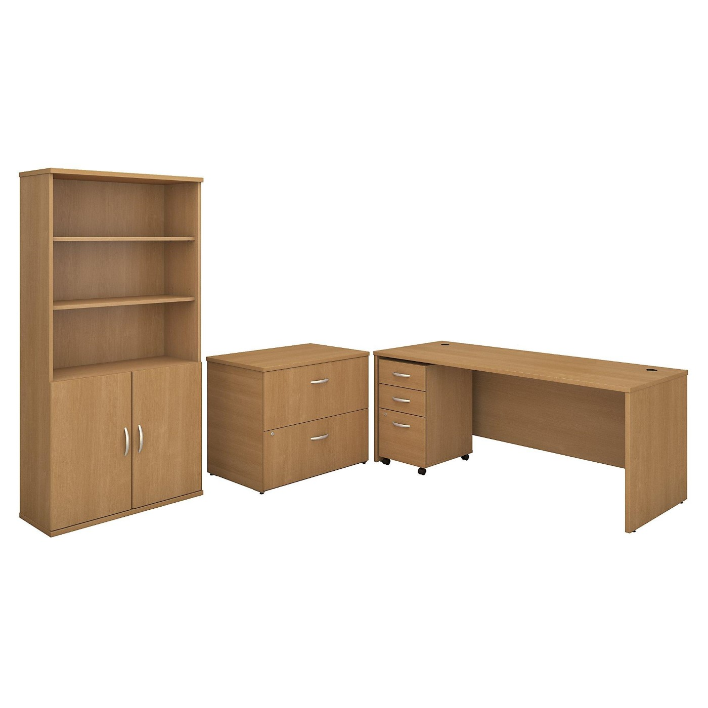 BUSH BUSINESS FURNITURE SERIES C 72W OFFICE DESK WITH BOOKCASE AND FILE CABINETS. FREE SHIPPING.