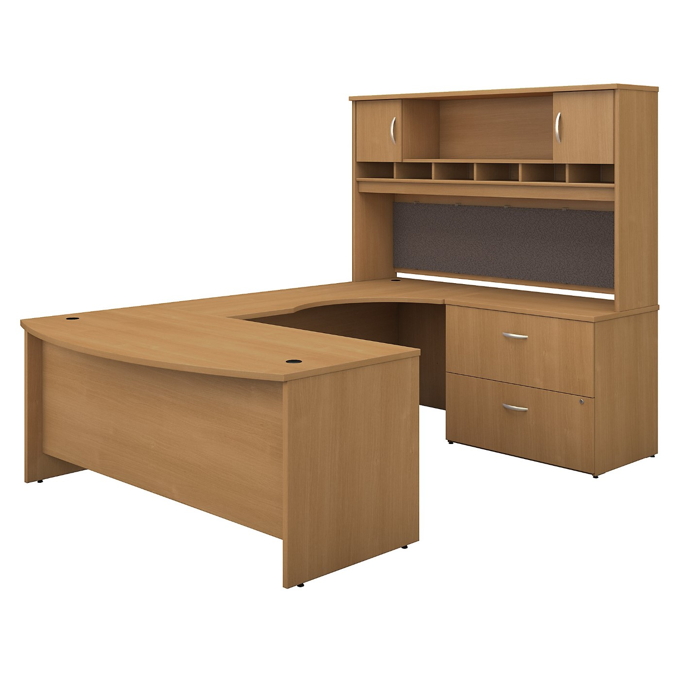 BUSH BUSINESS FURNITURE SERIES C 72W RIGHT HANDED BOW FRONT U SHAPED DESK WITH HUTCH AND STORAGE. FREE SHIPPING SALE DEDUCT 10% MORE ENTER '10percent' IN COUPON CODE BOX WHILE CHECKING OUT.