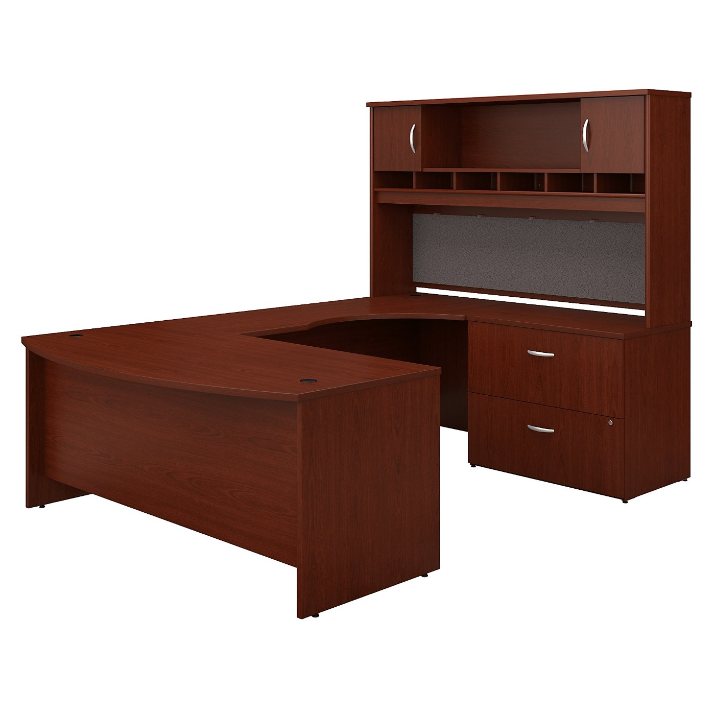 BUSH BUSINESS FURNITURE SERIES C 72W RIGHT HANDED BOW FRONT U SHAPED DESK WITH HUTCH AND STORAGE. FREE SHIPPING