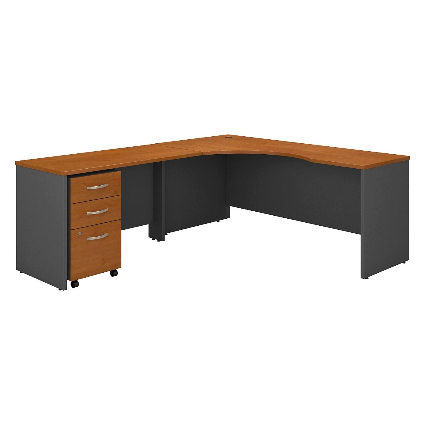 BUSH BUSINESS FURNITURE SERIES C 72W RIGHT HANDED CORNER DESK WITH 48W RETURN AND MOBILE FILE CABINET. FREE SHIPPING  VIDEO BELOW.