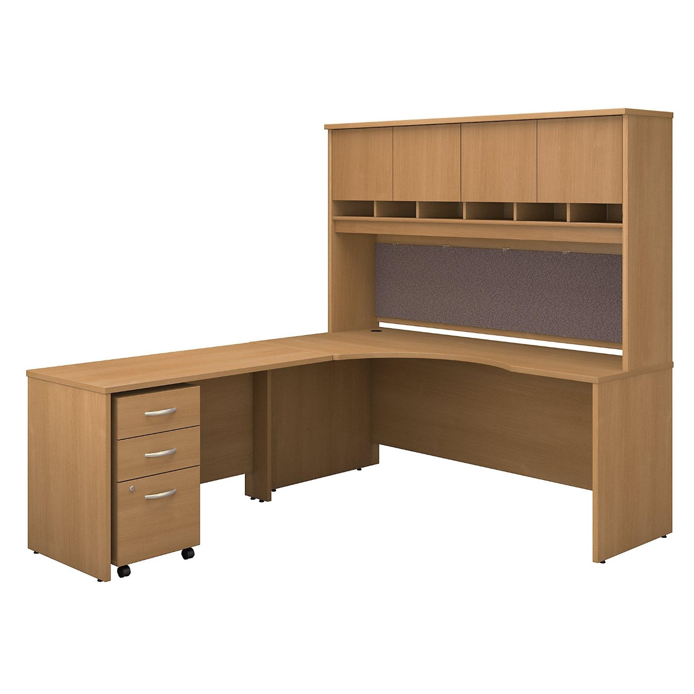 BUSH BUSINESS FURNITURE SERIES C 72W RIGHT HANDED CORNER DESK WITH HUTCH AND MOBILE FILE CABINET. FREE SHIPPING  VIDEO BELOW.