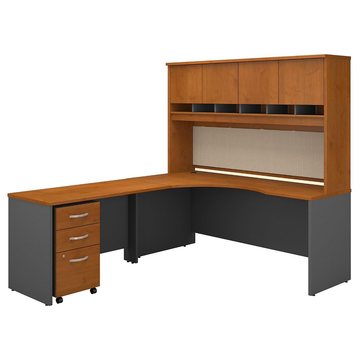 <font color=#c60><b>BUSH BUSINESS FURNITURE SERIES C 72W RIGHT HANDED CORNER DESK WITH HUTCH AND MOBILE FILE CABINET. FREE SHIPPING</font></b>