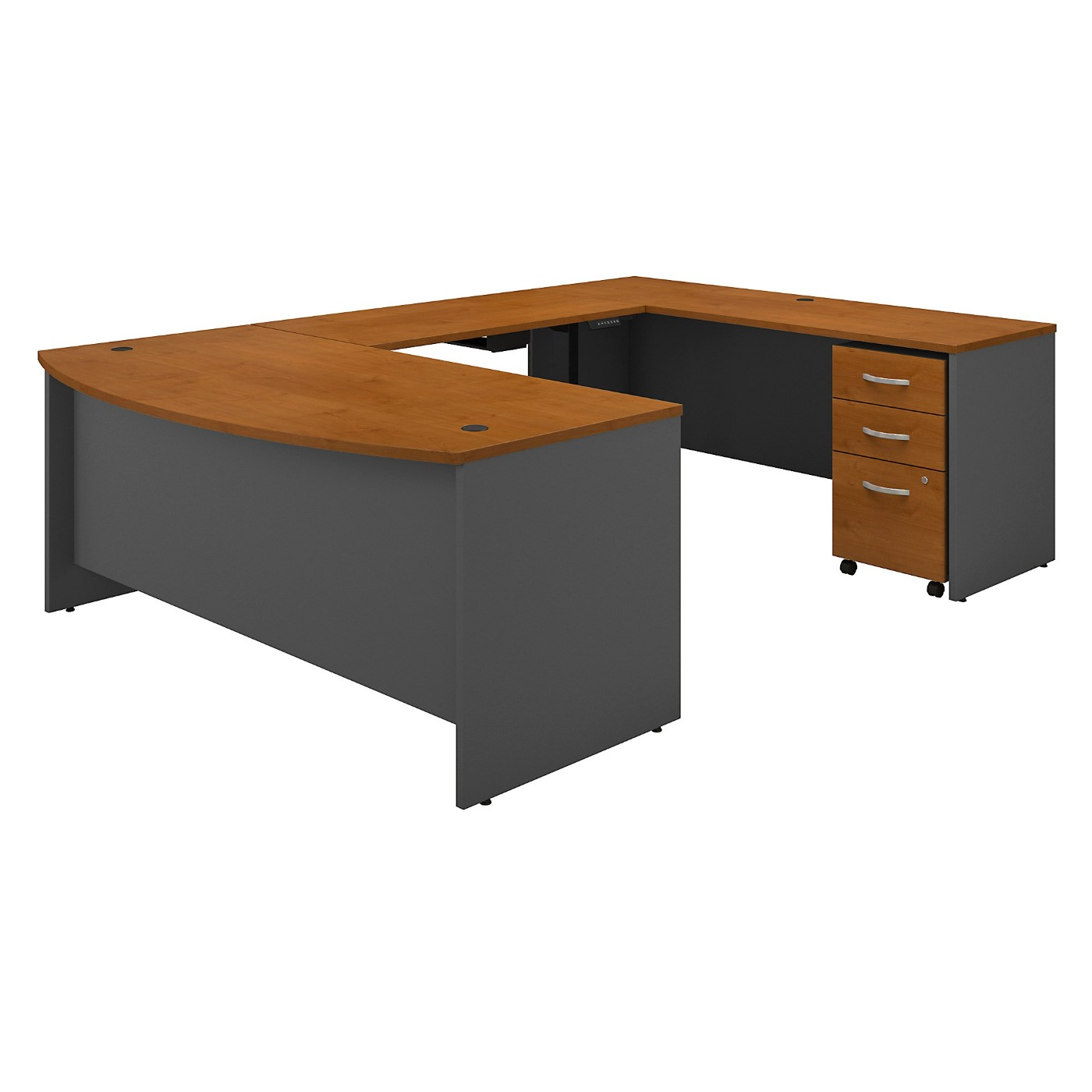 BUSH BUSINESS FURNITURE SERIES C 72W U SHAPED DESK WITH HEIGHT ADJUSTABLE BRIDGE AND STORAGE. FREE SHIPPING