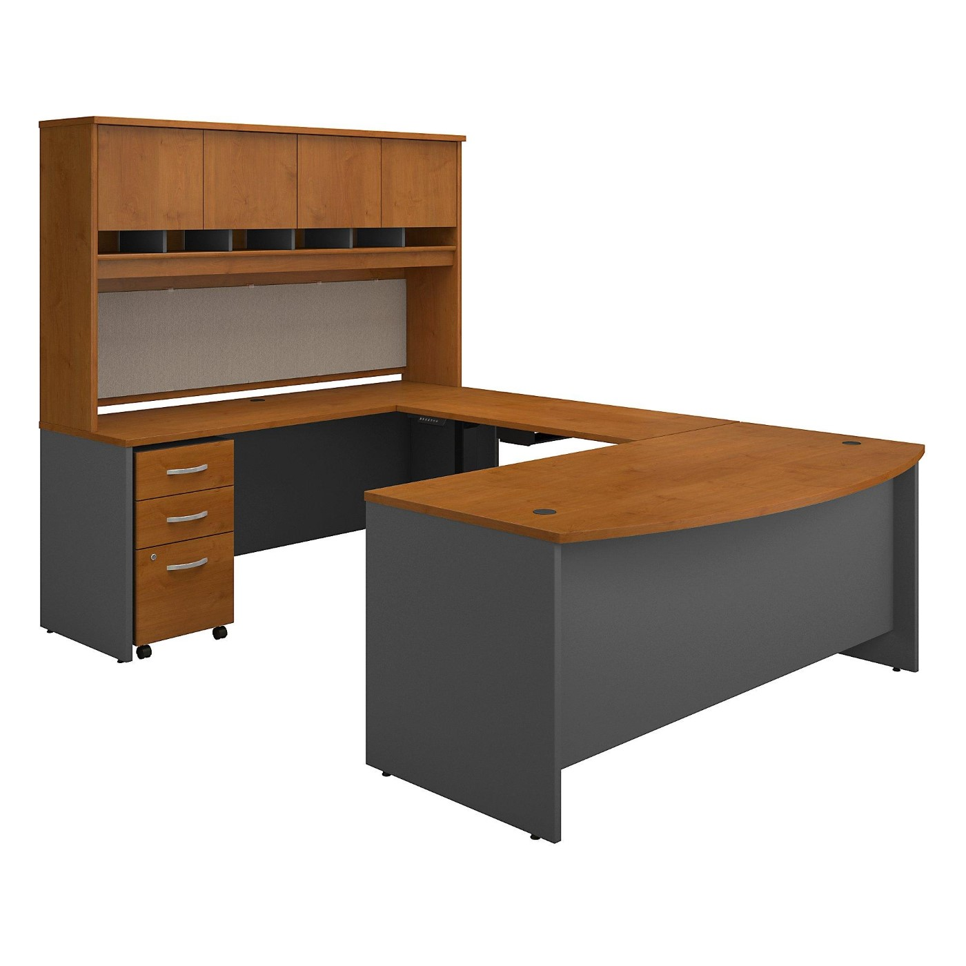 BUSH BUSINESS FURNITURE SERIES C 72W U SHAPED DESK WITH HEIGHT ADJUSTABLE BRIDGE, HUTCH AND STORAGE. FREE SHIPPING  VIDEO BELOW.