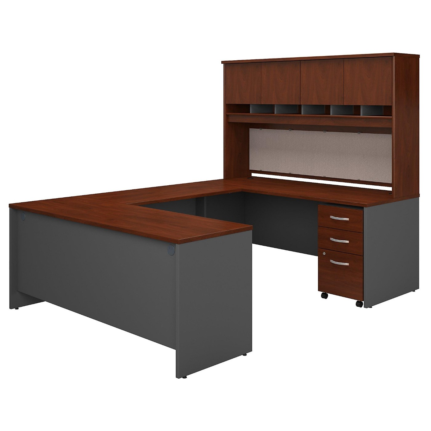 BUSH BUSINESS FURNITURE SERIES C 72W U SHAPED DESK WITH HUTCH AND STORAGE. FREE SHIPPING.