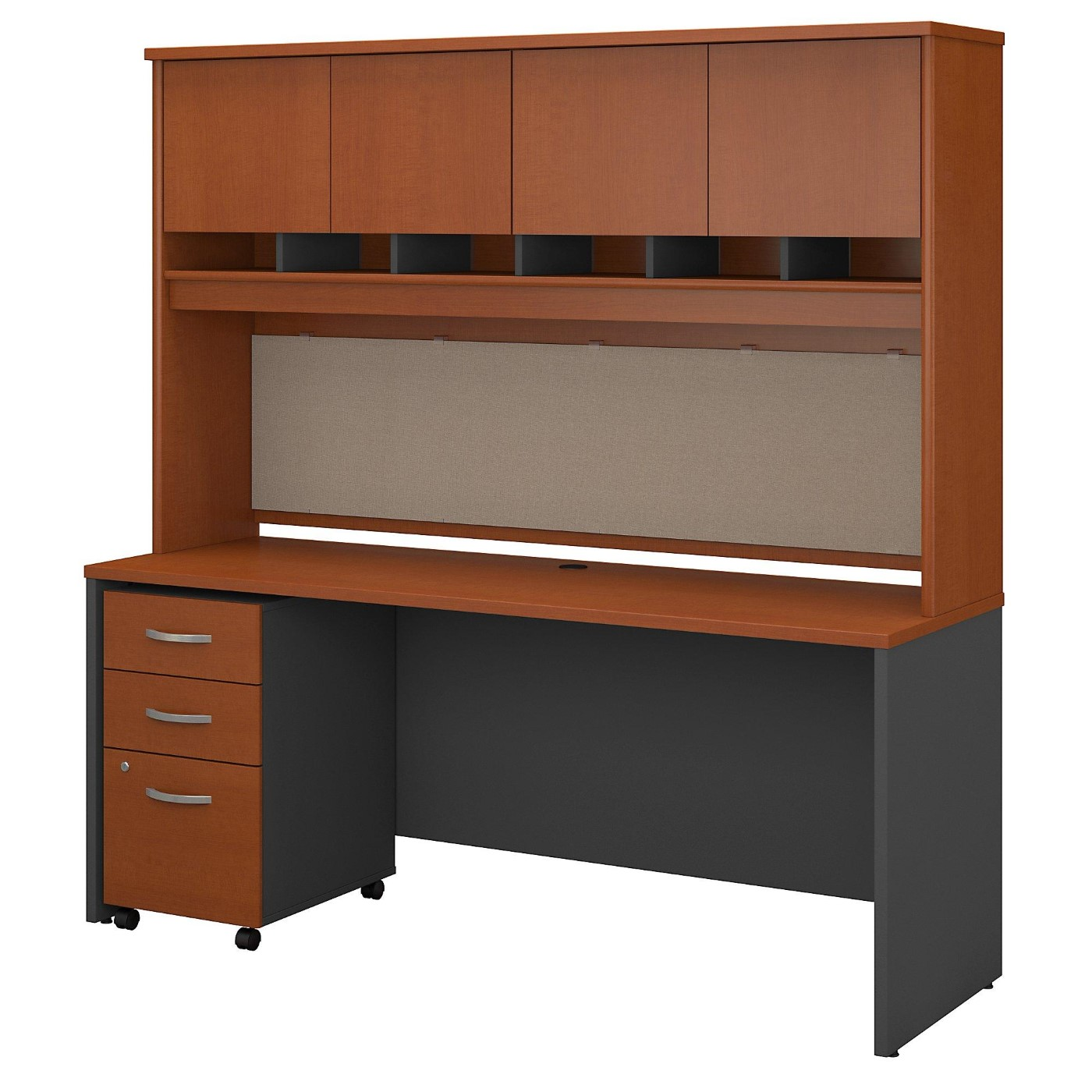 <font color=#c60><b>BUSH BUSINESS FURNITURE SERIES C 72W X 24D OFFICE DESK WITH HUTCH AND MOBILE FILE CABINET. FREE SHIPPING</font></b></font></b>
