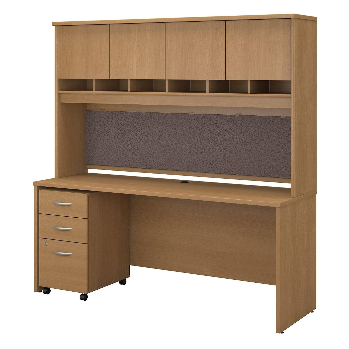 BUSH BUSINESS FURNITURE SERIES C 72W X 24D OFFICE DESK WITH HUTCH AND MOBILE FILE CABINET. FREE SHIPPING  VIDEO BELOW.
