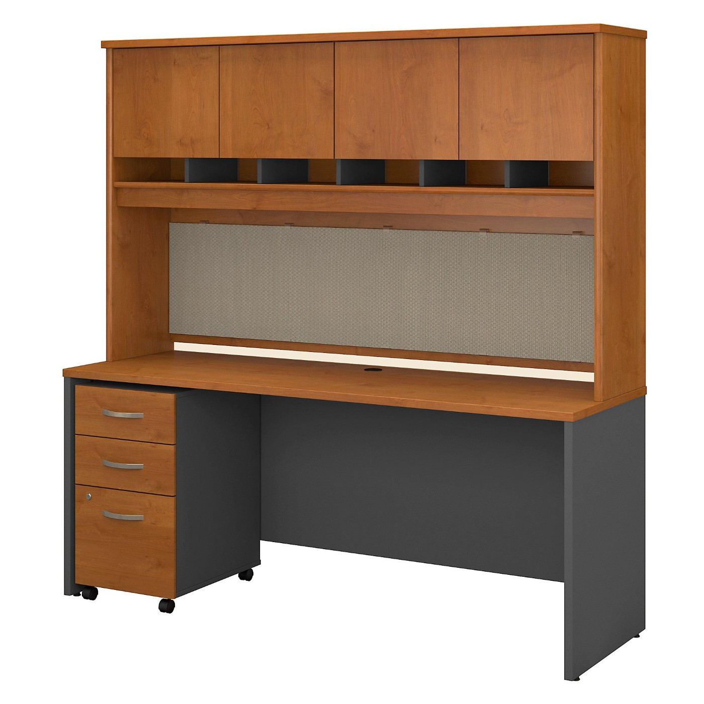 <font color=#c60><b>BUSH BUSINESS FURNITURE SERIES C 72W X 24D OFFICE DESK WITH HUTCH AND MOBILE FILE CABINET. FREE SHIPPING</font></b>