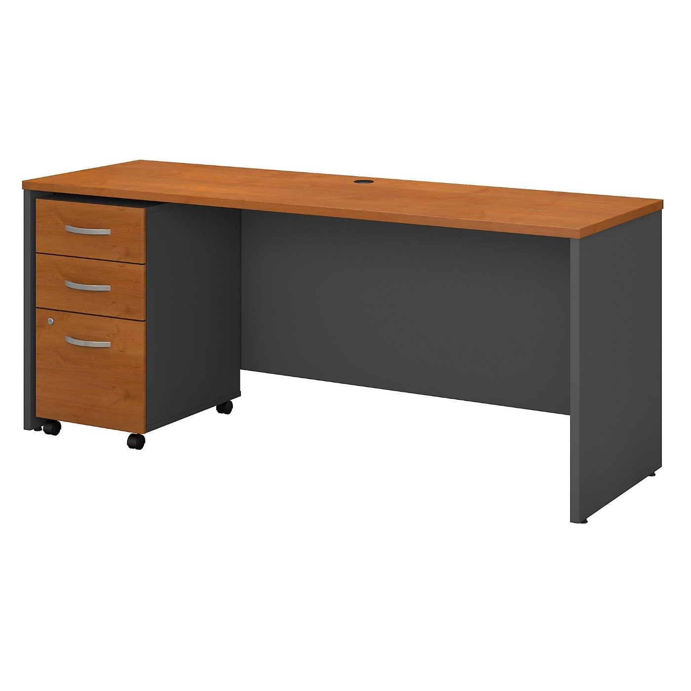 BUSH BUSINESS FURNITURE SERIES C 72W X 24D OFFICE DESK WITH MOBILE FILE CABINET. FREE SHIPPING  VIDEO BELOW.