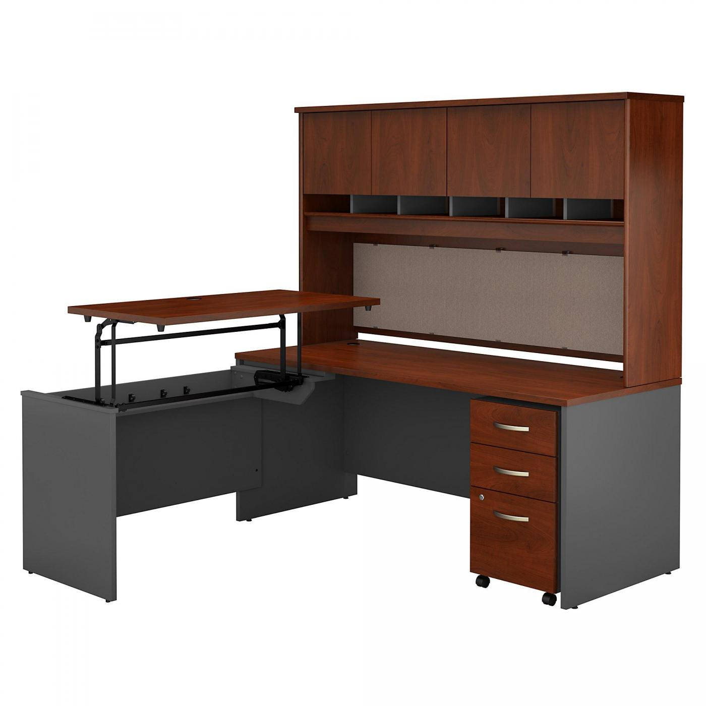 <font color=#c60><b>BUSH BUSINESS FURNITURE SERIES C 72W X 30D 3 POSITION SIT TO STAND L SHAPED DESK WITH HUTCH AND MOBILE FILE CABINET. FREE SHIPPING. VIDEO:</font></b>