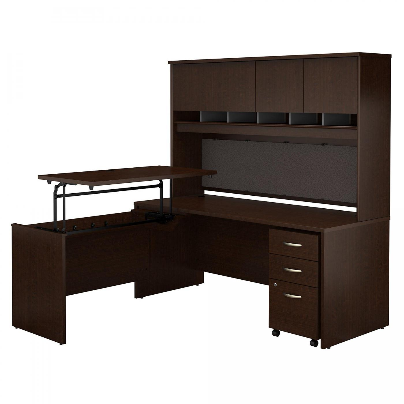 <font color=#c60><b>BUSH BUSINESS FURNITURE SERIES C 72W X 30D 3 POSITION SIT TO STAND L SHAPED DESK WITH HUTCH AND MOBILE FILE CABINET. FREE SHIPPING</font></b>