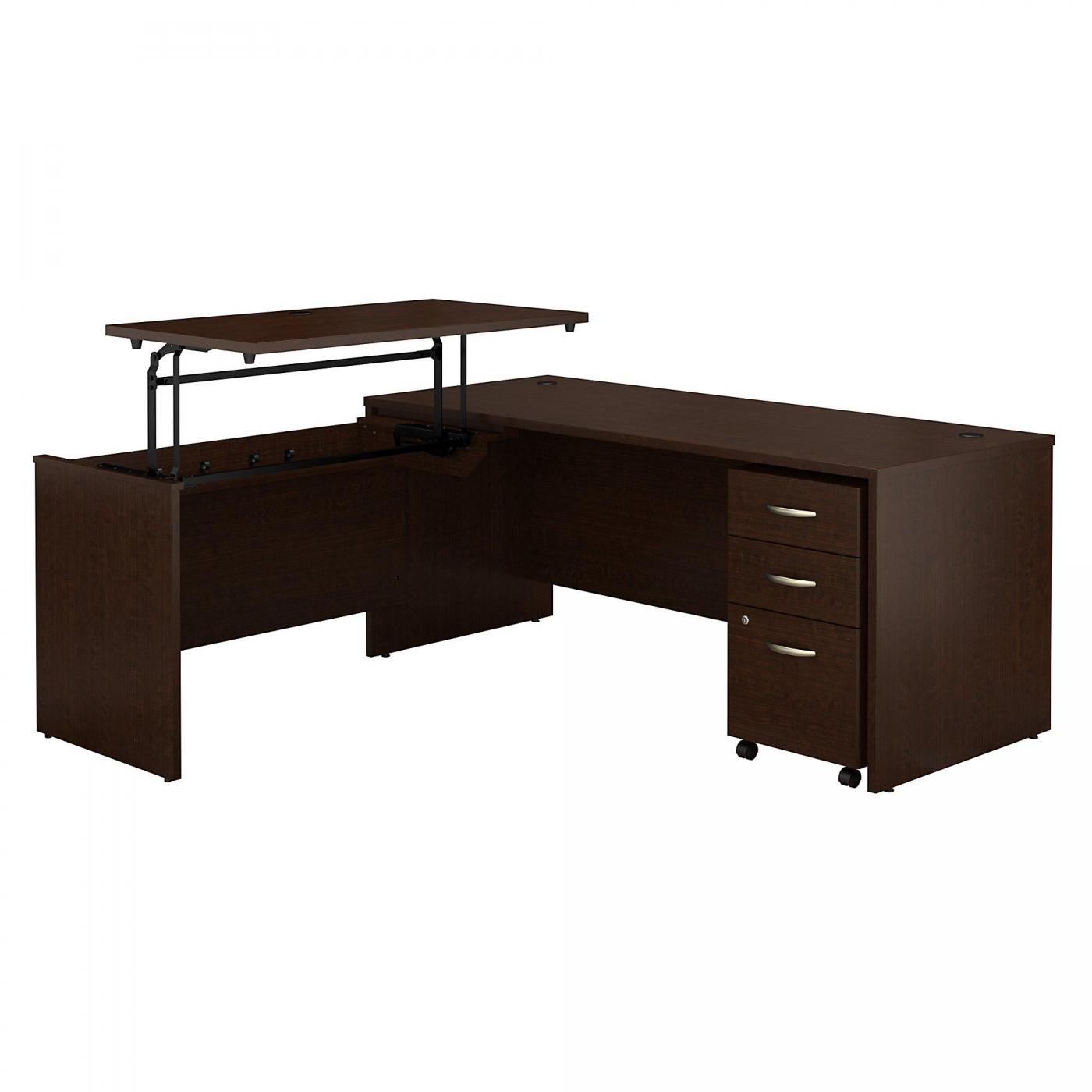 <font color=#c60><b>BUSH BUSINESS FURNITURE SERIES C 72W X 30D 3 POSITION SIT TO STAND L SHAPED DESK WITH MOBILE FILE CABINET. FREE SHIPPING</font></b>