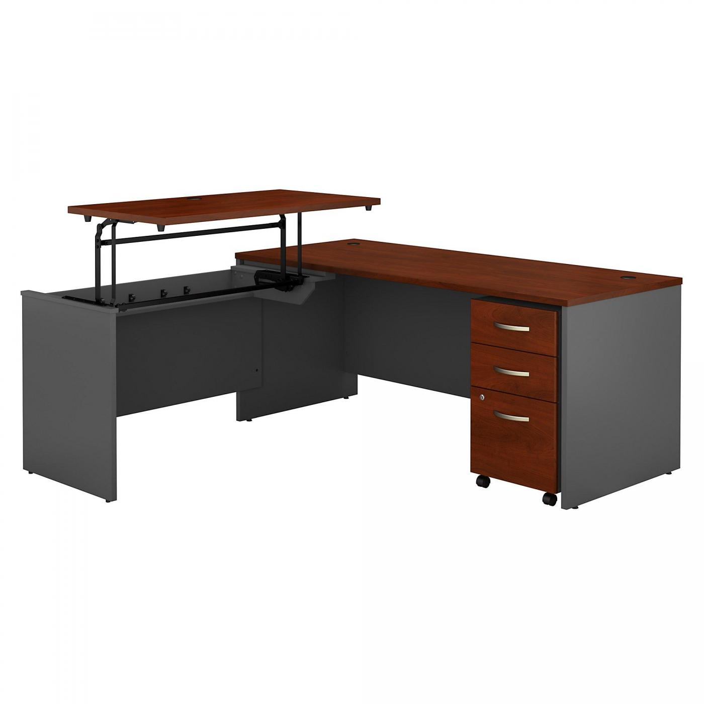<font color=#c60><b>BUSH BUSINESS FURNITURE SERIES C 72W X 30D 3 POSITION SIT TO STAND L SHAPED DESK WITH MOBILE FILE CABINET. FREE SHIPPING. VIDEO:</font></b></font></b>