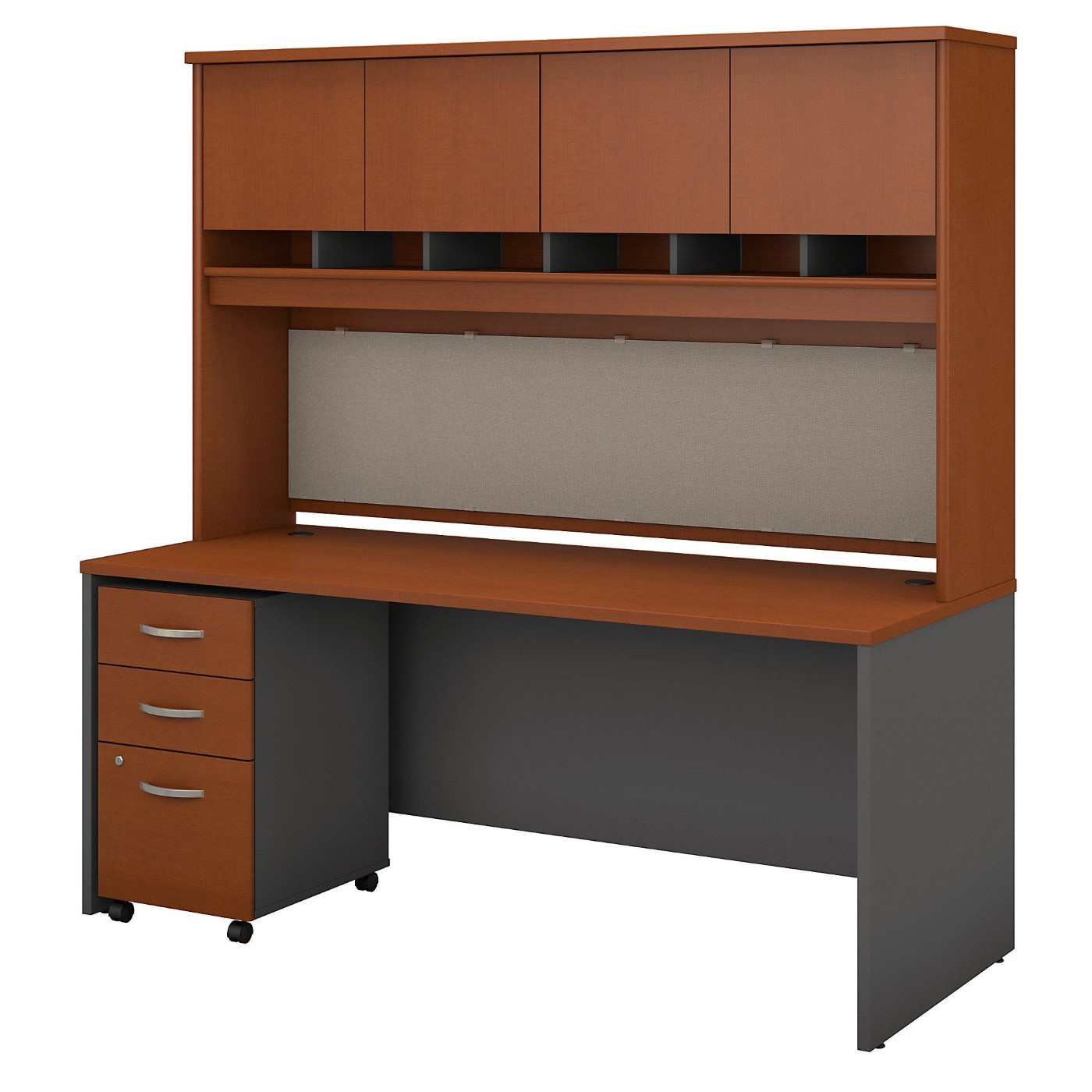 BUSH BUSINESS FURNITURE SERIES C 72W X 30D OFFICE DESK WITH HUTCH AND MOBILE FILE CABINET. FREE SHIPPING  VIDEO BELOW.  SALE DEDUCT 10% MORE ENTER '10percent' IN COUPON CODE BOX WHILE CHECKING OUT.