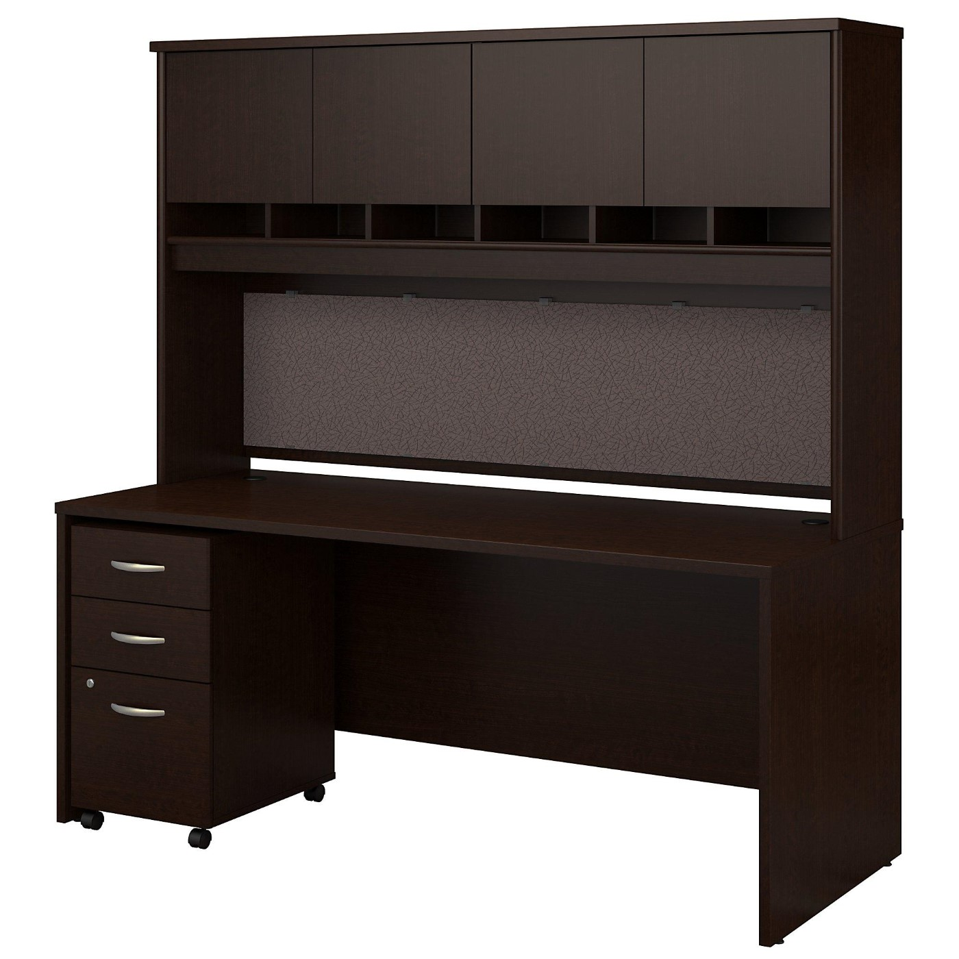 BUSH BUSINESS FURNITURE SERIES C 72W X 30D OFFICE DESK WITH HUTCH AND MOBILE FILE CABINET. FREE SHIPPING  VIDEO BELOW.