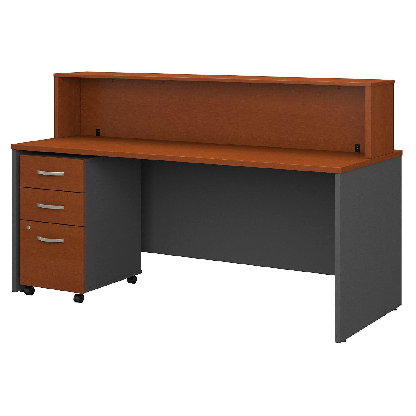 BUSH BUSINESS FURNITURE SERIES C 72W X 30D RECEPTION DESK WITH MOBILE FILE CABINET. FREE SHIPPING.