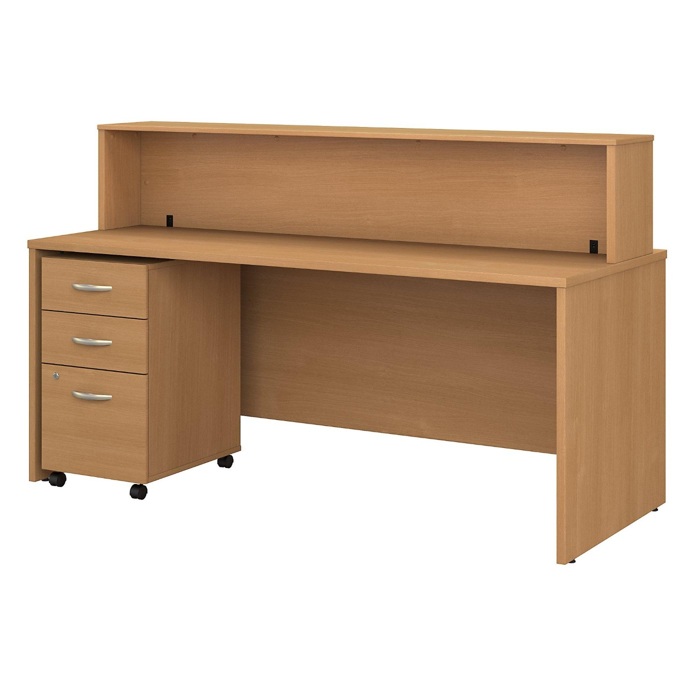 BUSH BUSINESS FURNITURE SERIES C 72W X 30D RECEPTION DESK WITH MOBILE FILE CABINET. FREE SHIPPING  VIDEO BELOW.