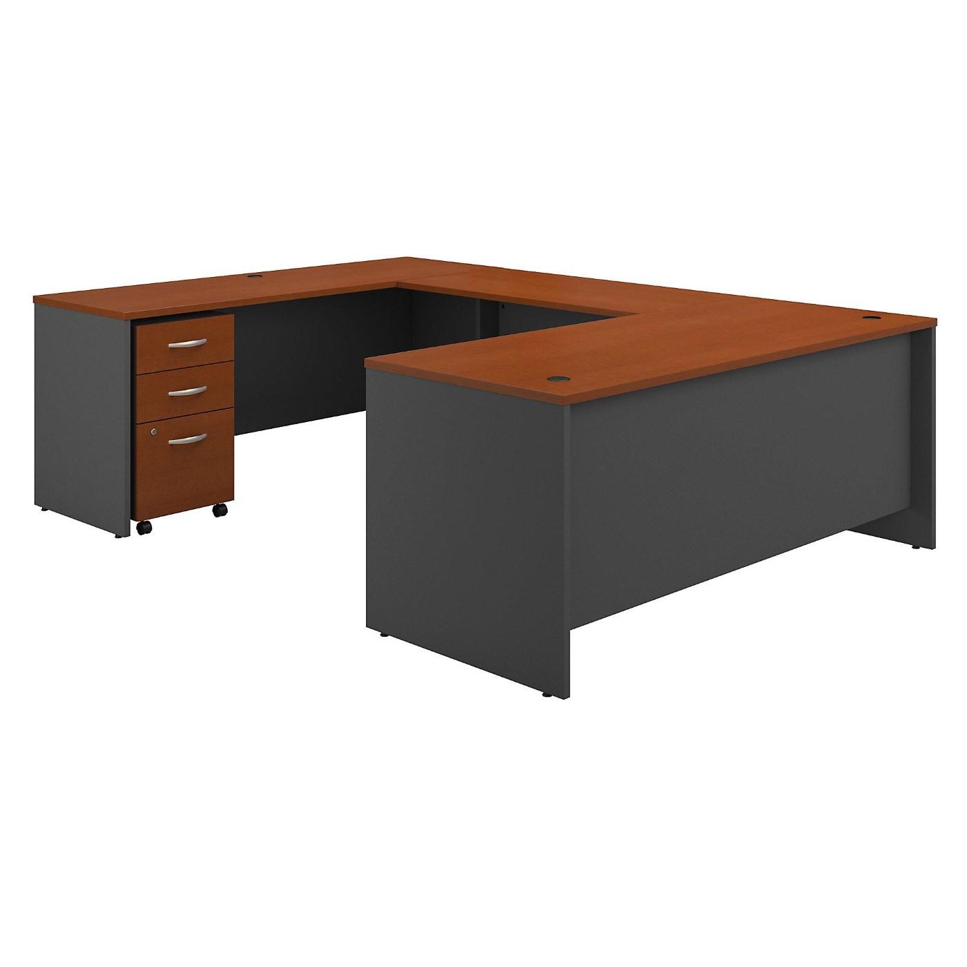 BUSH BUSINESS FURNITURE SERIES C 72W X 30D U SHAPED DESK WITH MOBILE FILE CABINET. FREE SHIPPING  VIDEO BELOW.