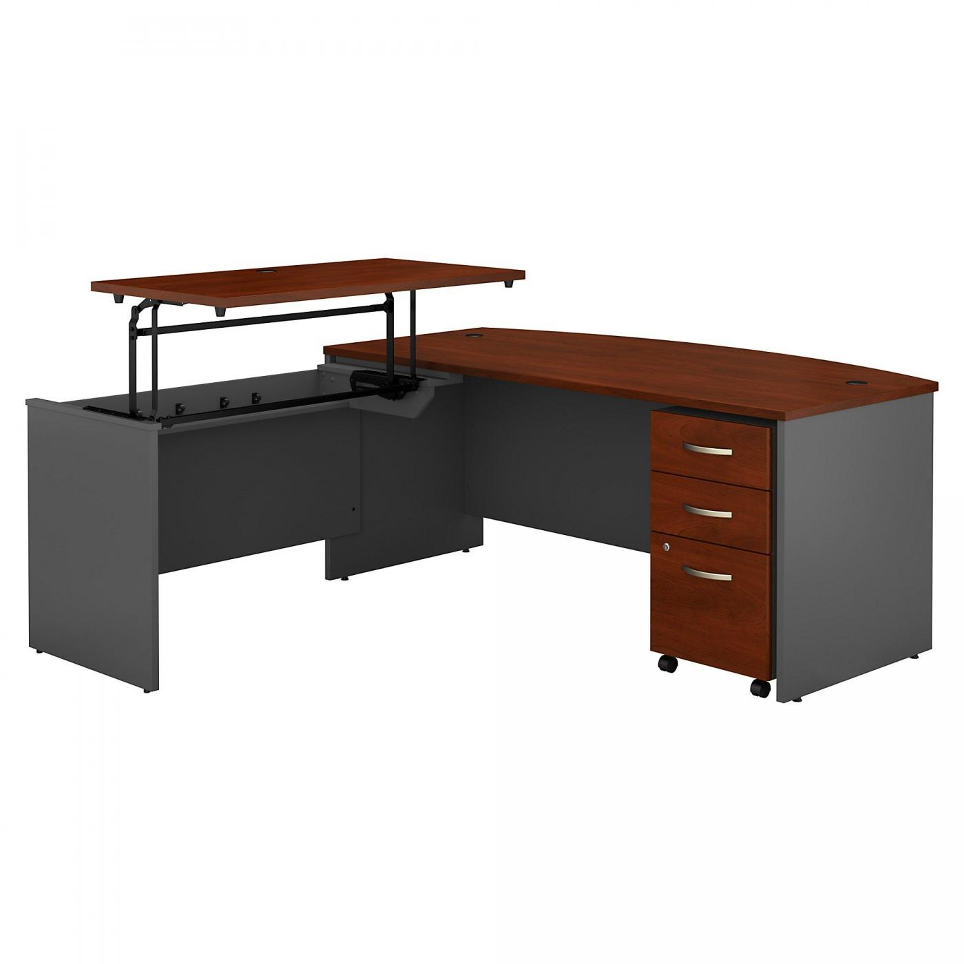 <font color=#c60><b>BUSH BUSINESS FURNITURE SERIES C 72W X 36D 3 POSITION BOW FRONT SIT TO STAND L SHAPED DESK WITH MOBILE FILE CABINET. FREE SHIPPING</font></b>