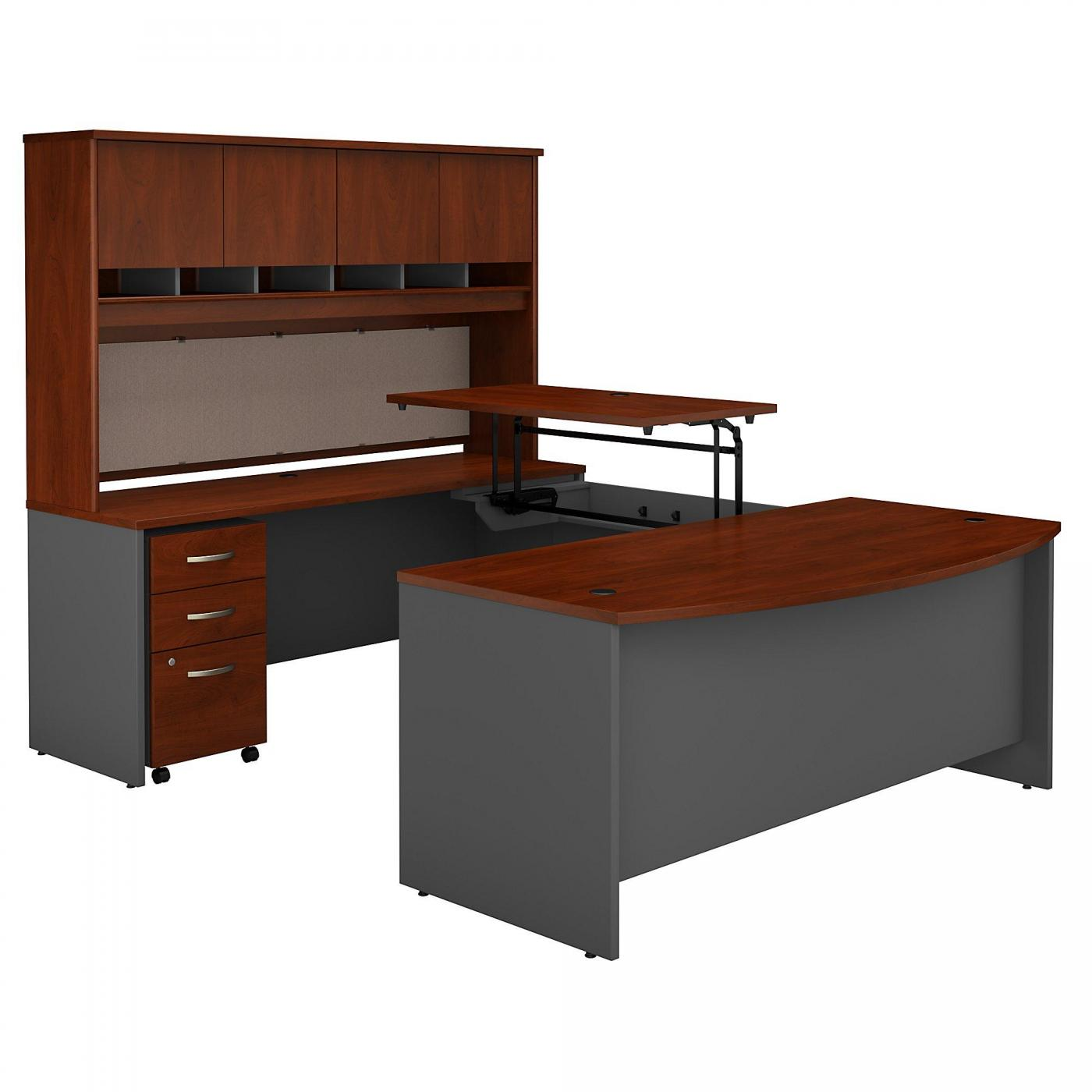 <font color=#c60><b>BUSH BUSINESS FURNITURE SERIES C 72W X 36D 3 POSITION SIT TO STAND BOW FRONT U SHAPED DESK WITH HUTCH AND MOBILE FILE CABINET. FREE SHIPPING</font></b>