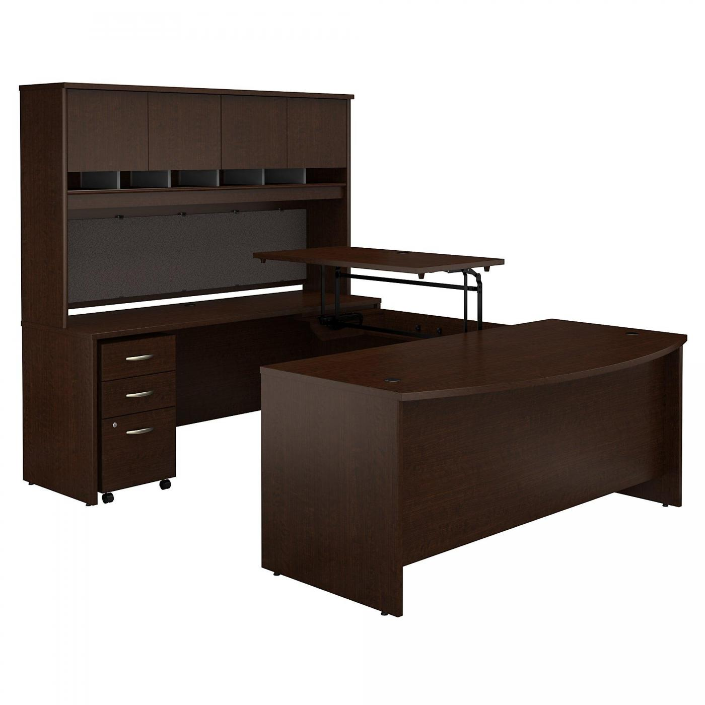 <font color=#c60><b>BUSH BUSINESS FURNITURE SERIES C 72W X 36D 3 POSITION SIT TO STAND BOW FRONT U SHAPED DESK WITH HUTCH AND MOBILE FILE CABINET. FREE SHIPPING. VIDEO:</font></b>