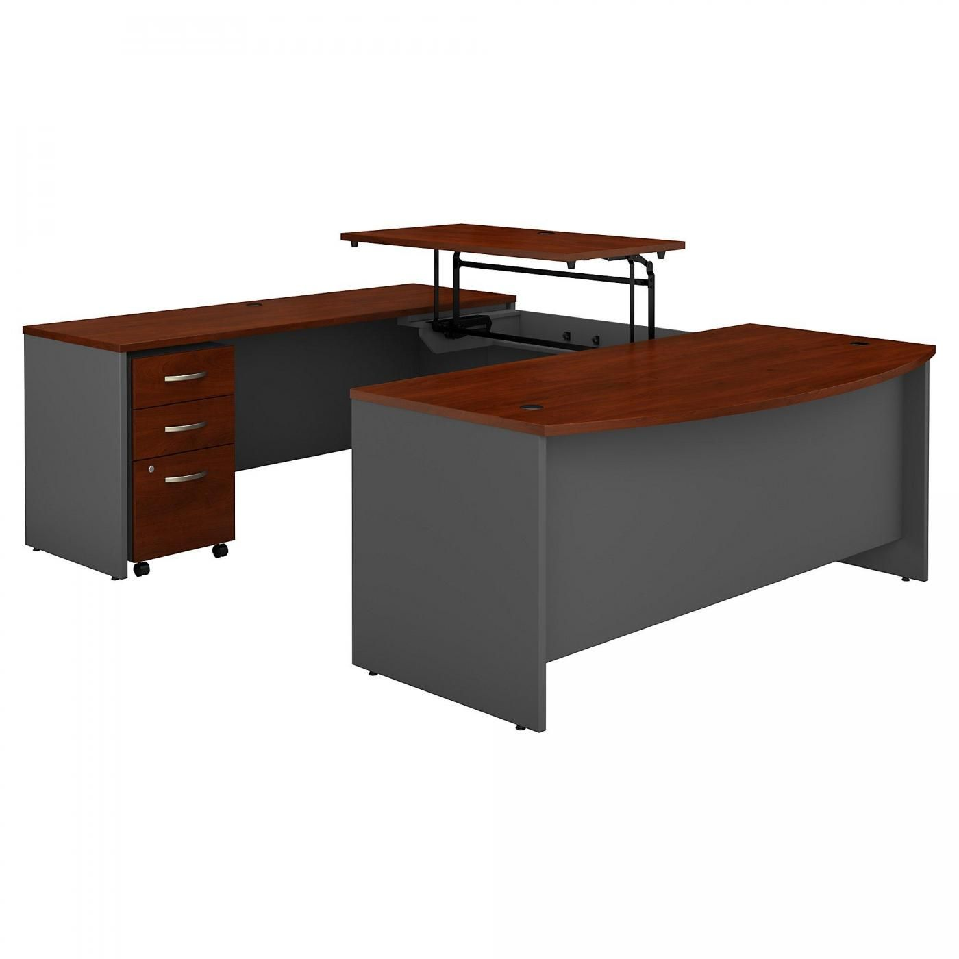 <font color=#c60><b>BUSH BUSINESS FURNITURE SERIES C 72W X 36D 3 POSITION SIT TO STAND BOW FRONT U SHAPED DESK WITH MOBILE FILE CABINET. FREE SHIPPING. VIDEO:</font></b>