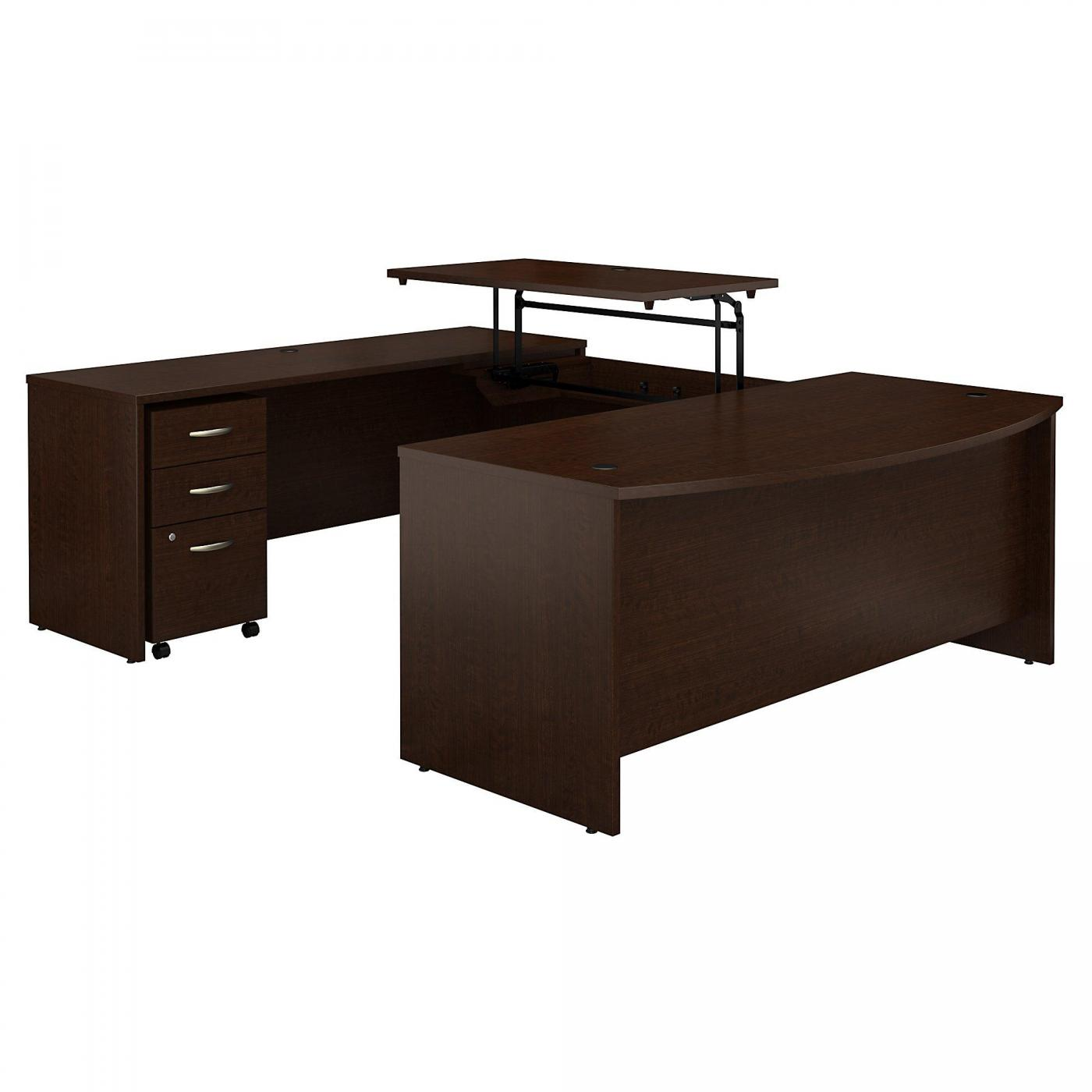 <font color=#c60><b>BUSH BUSINESS FURNITURE SERIES C 72W X 36D 3 POSITION SIT TO STAND BOW FRONT U SHAPED DESK WITH MOBILE FILE CABINET. FREE SHIPPING. VIDEO:</font></b></font></b>