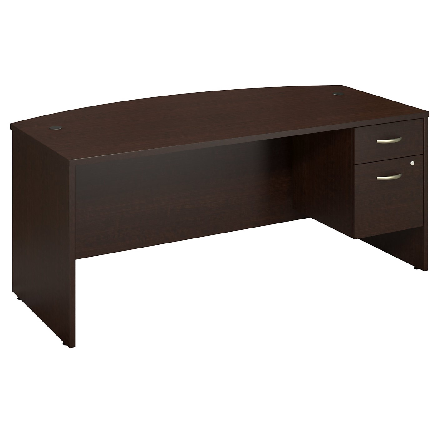 BUSH BUSINESS FURNITURE SERIES C 72W X 36D BOW FRONT DESK WITH 3/4 PEDESTAL. FREE SHIPPING