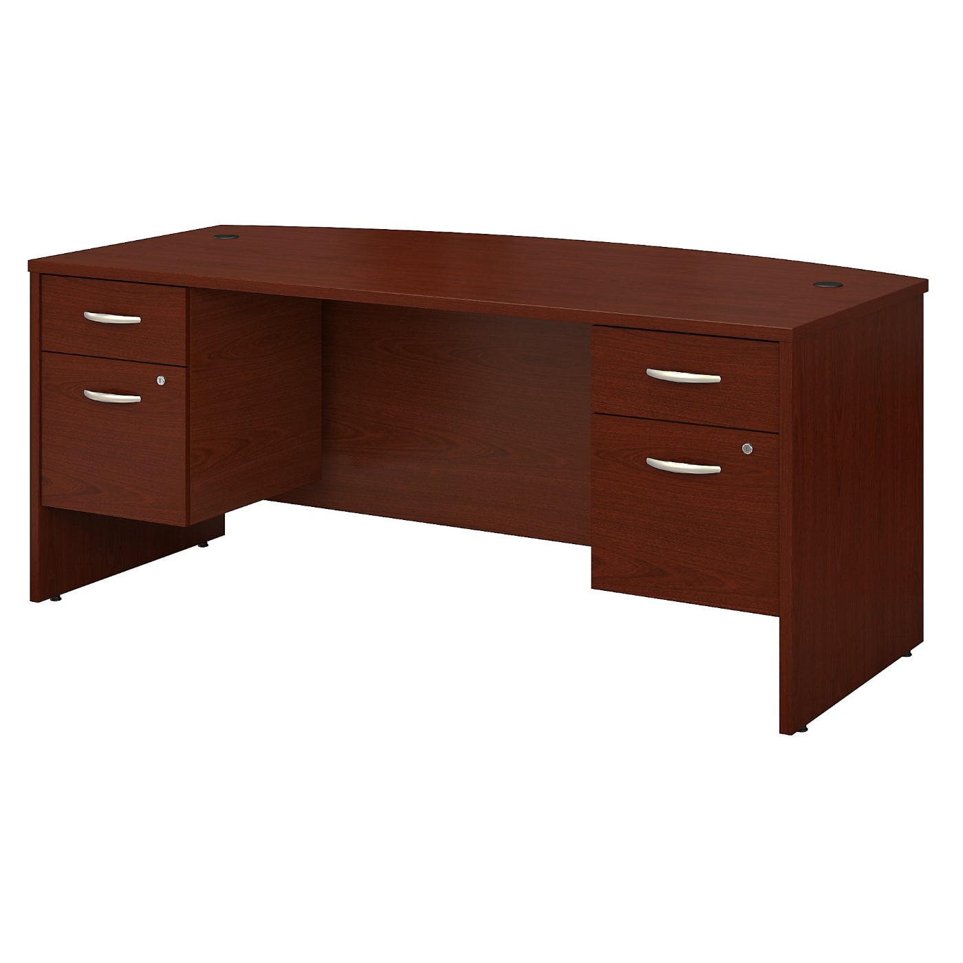 BUSH BUSINESS FURNITURE SERIES C 72W X 36D BOW FRONT DESK WITH 3/4 PEDESTALS. FREE SHIPPING