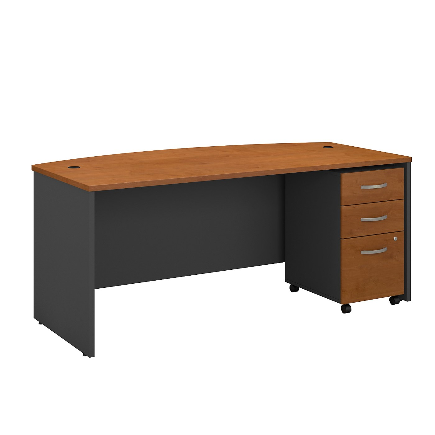 BUSH BUSINESS FURNITURE SERIES C 72W X 36D BOW FRONT DESK WITH MOBILE FILE CABINET. FREE SHIPPING