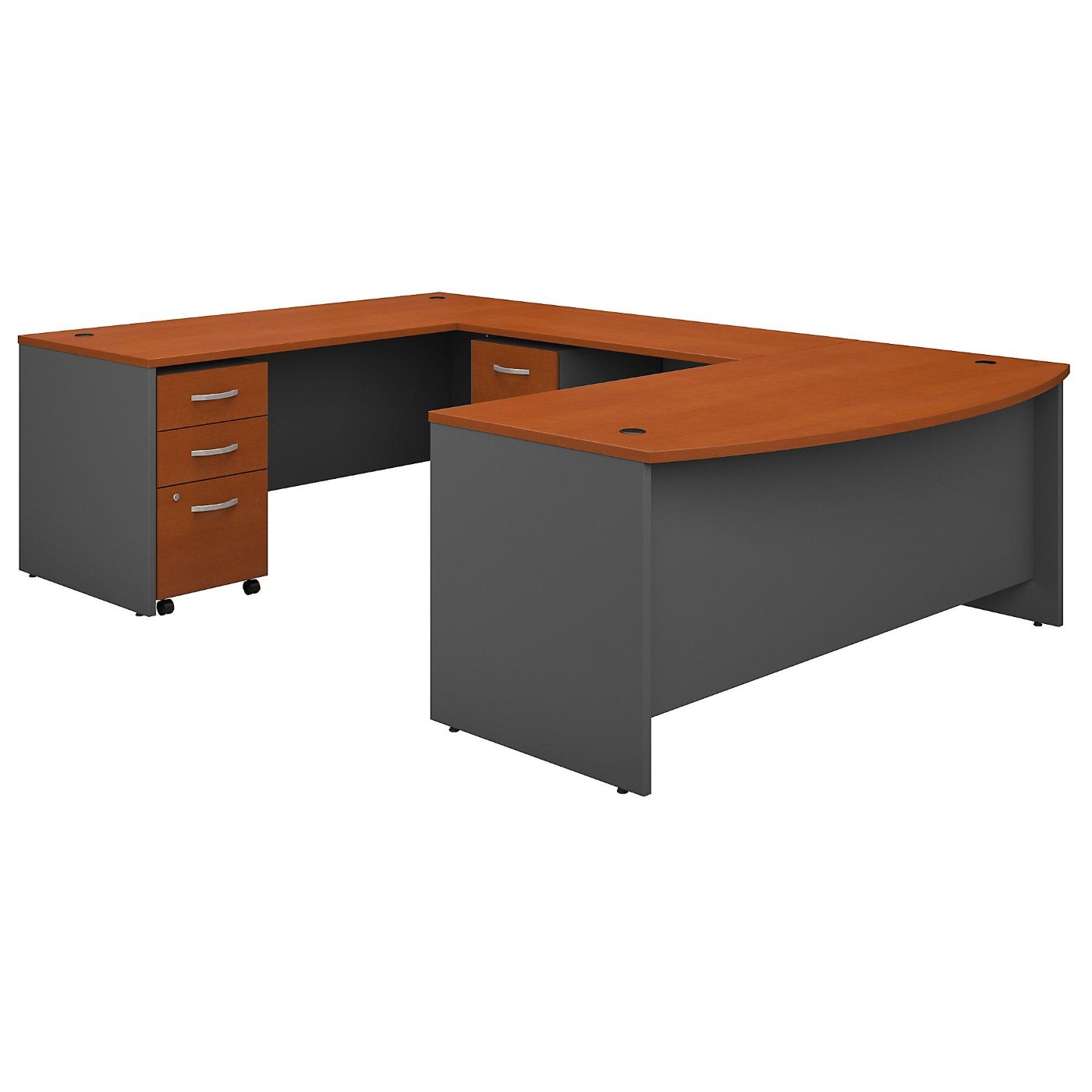BUSH BUSINESS FURNITURE SERIES C 72W X 36D BOW FRONT U SHAPED DESK WITH MOBILE FILE CABINETS. FREE SHIPPING  VIDEO BELOW.