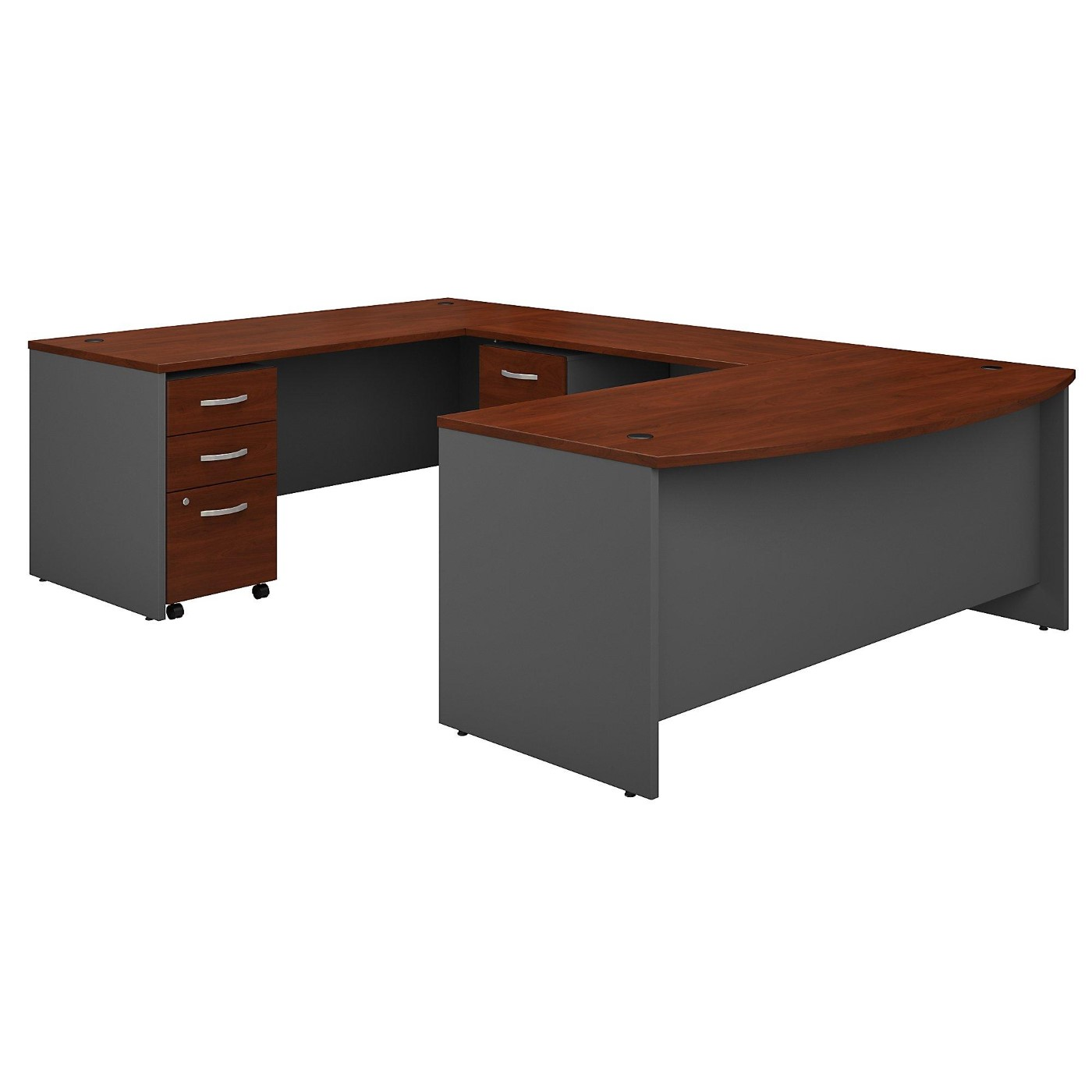 BUSH BUSINESS FURNITURE SERIES C 72W X 36D BOW FRONT U SHAPED DESK WITH MOBILE FILE CABINETS. FREE SHIPPING.