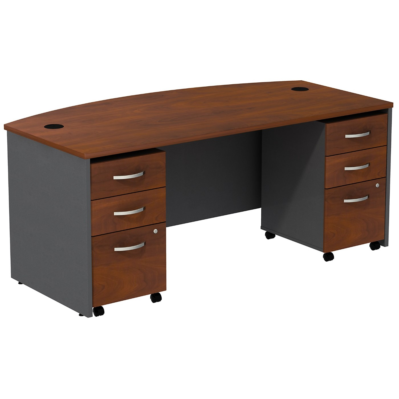 BUSH BUSINESS FURNITURE SERIES C BOW FRONT DESK WITH (2) 3 DRAWER MOBILE PEDESTALS. FREE SHIPPING