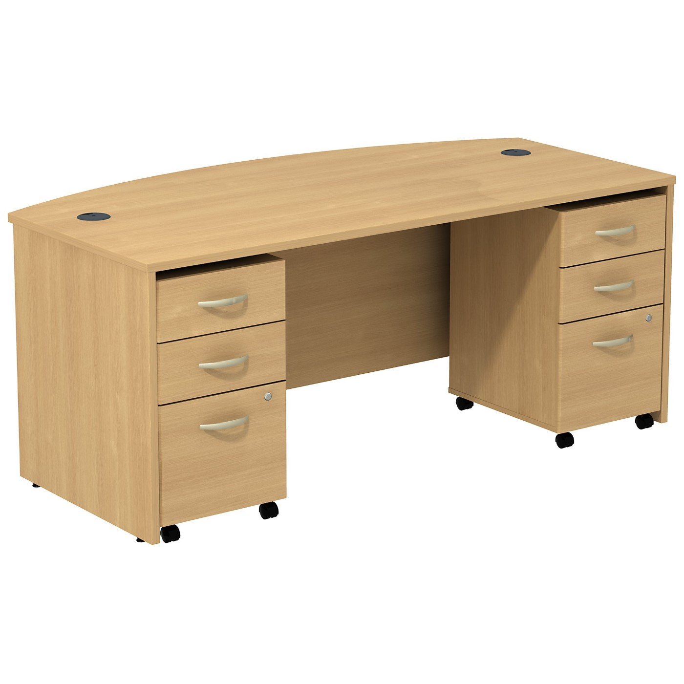 BUSH BUSINESS FURNITURE SERIES C BOW FRONT DESK WITH (2) 3 DRAWER MOBILE PEDESTALS. FREE SHIPPING SALE DEDUCT 10% MORE ENTER '10percent' IN COUPON CODE BOX WHILE CHECKING OUT.