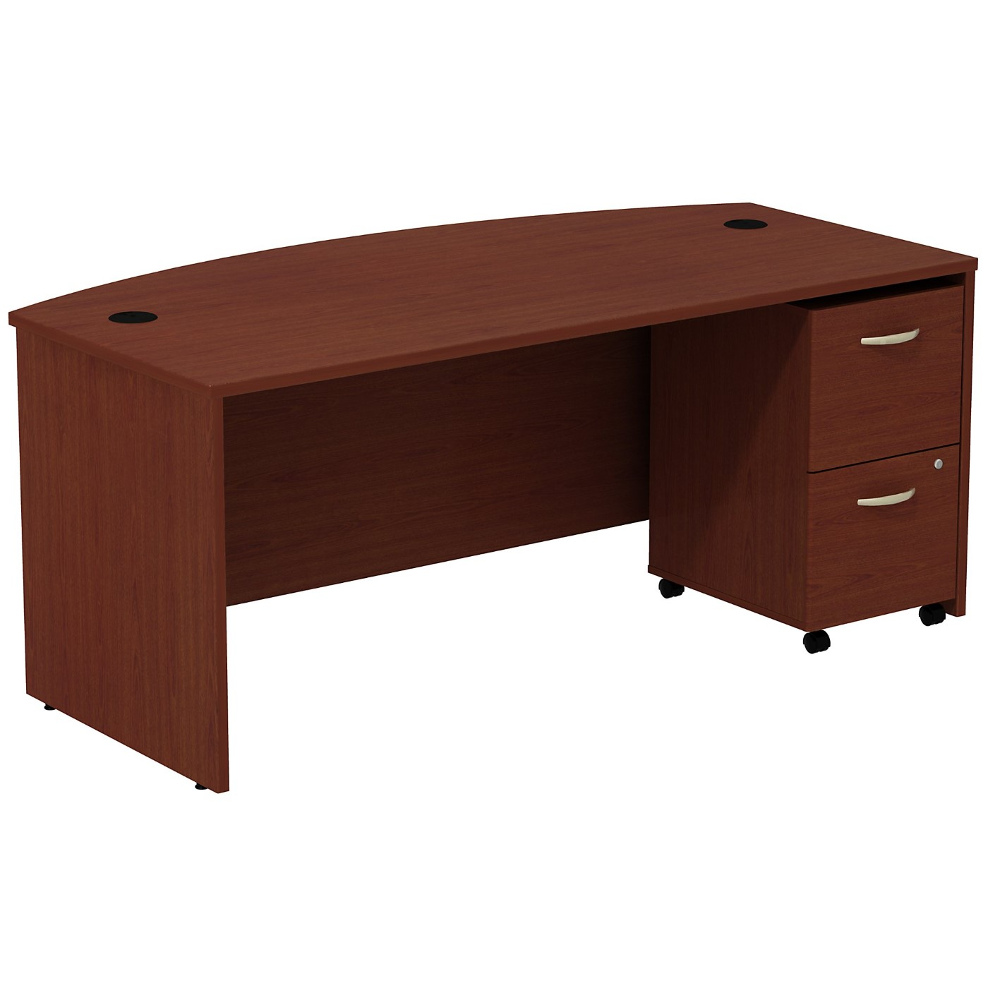 BUSH BUSINESS FURNITURE SERIES C BOW FRONT DESK WITH 2 DRAWER MOBILE PEDESTAL. FREE SHIPPING