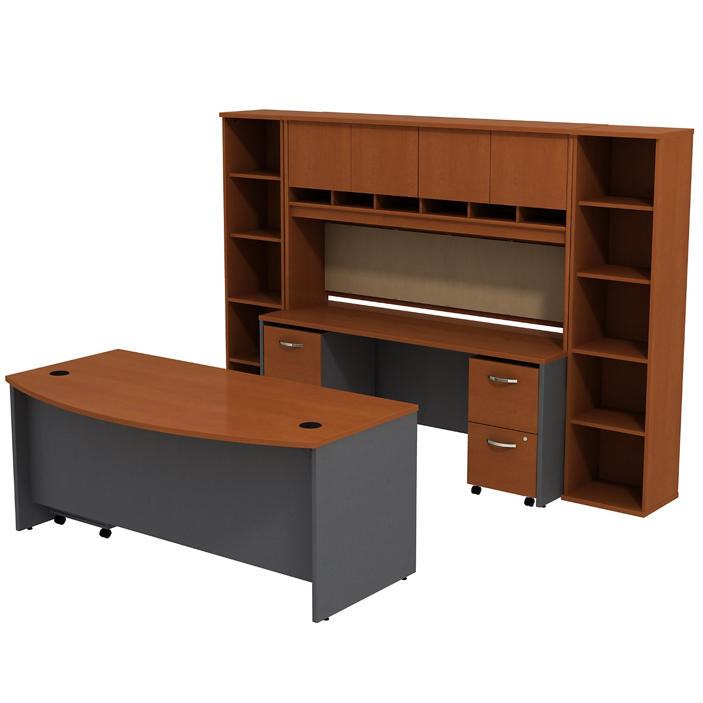 BUSH BUSINESS FURNITURE SERIES C BOW FRONT DESK WITH CREDENZA, HUTCH AND (2) BOOKCASES. FREE SHIPPING