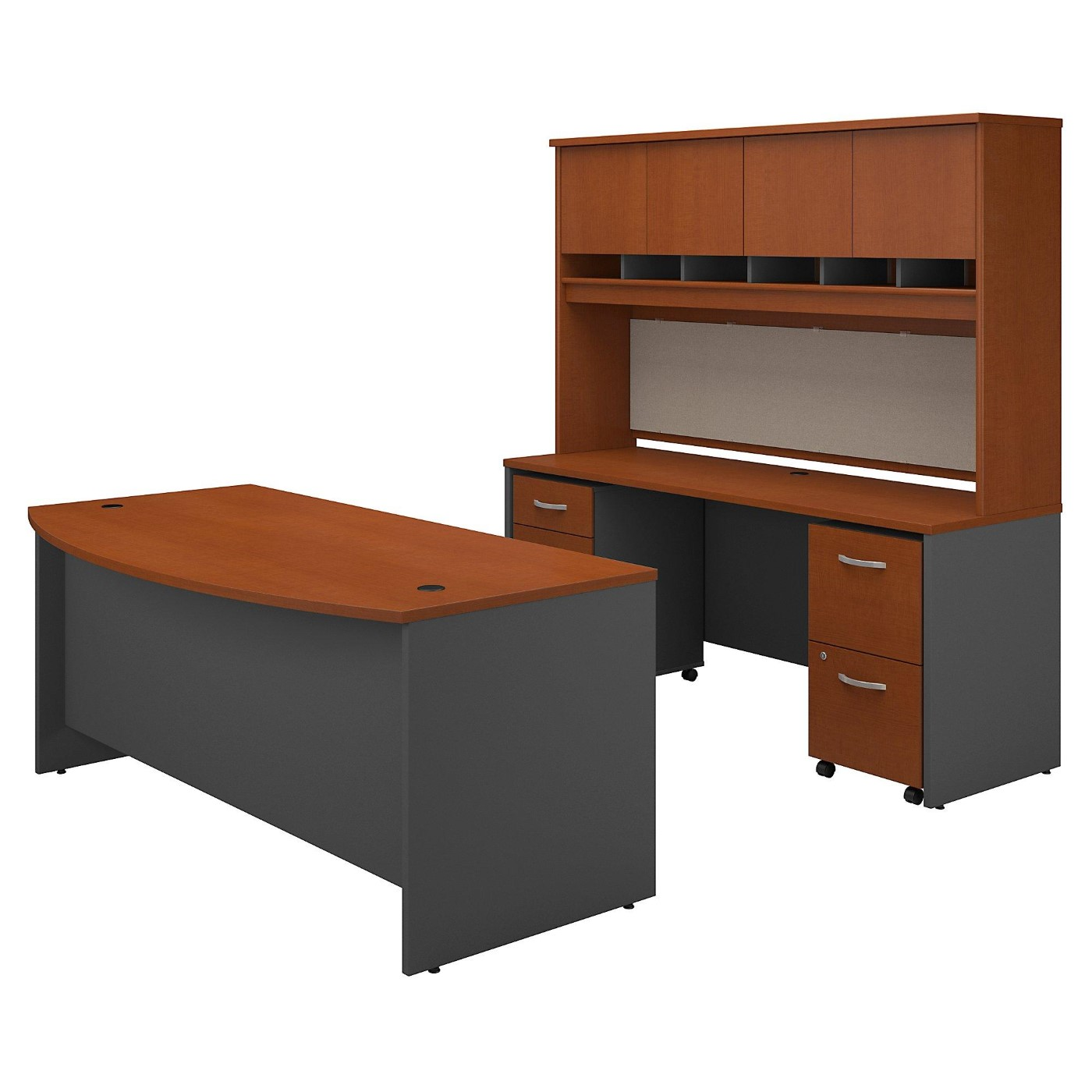 <font color=#c60><b>BUSH BUSINESS FURNITURE SERIES C BOW FRONT DESK WITH CREDENZA, HUTCH AND STORAGE. FREE SHIPPING</font></b></font>