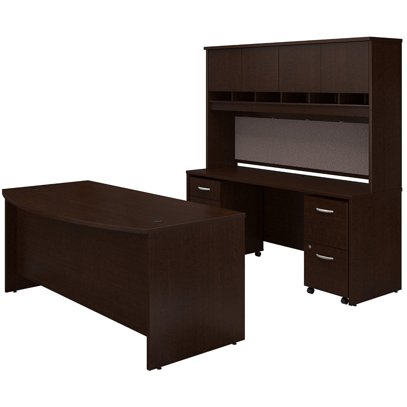 BUSH BUSINESS FURNITURE SERIES C BOW FRONT DESK WITH CREDENZA, HUTCH AND STORAGE. FREE SHIPPING  VIDEO BELOW.