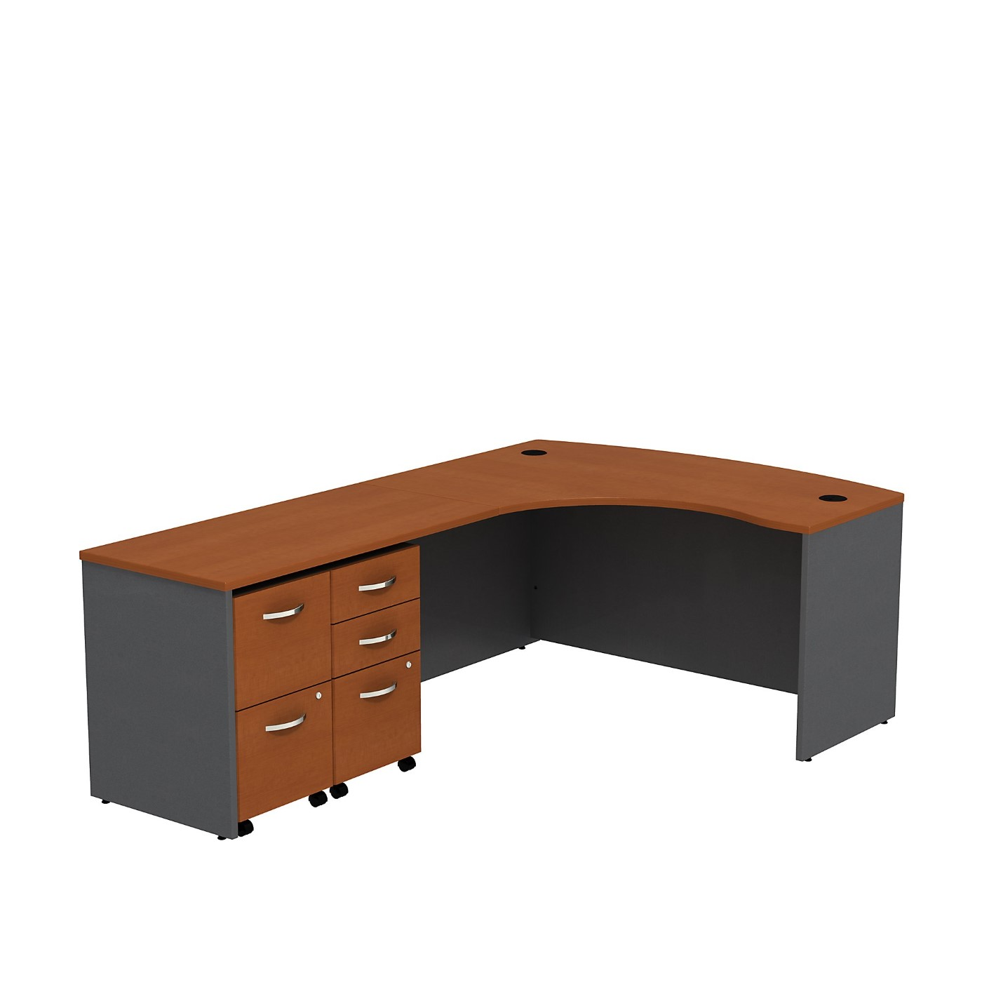 BUSH BUSINESS FURNITURE SERIES C BOW FRONT LEFT HANDED L SHAPED DESK WITH 2 MOBILE PEDESTALS. FREE SHIPPING SALE DEDUCT 10% MORE ENTER '10percent' IN COUPON CODE BOX WHILE CHECKING OUT.
