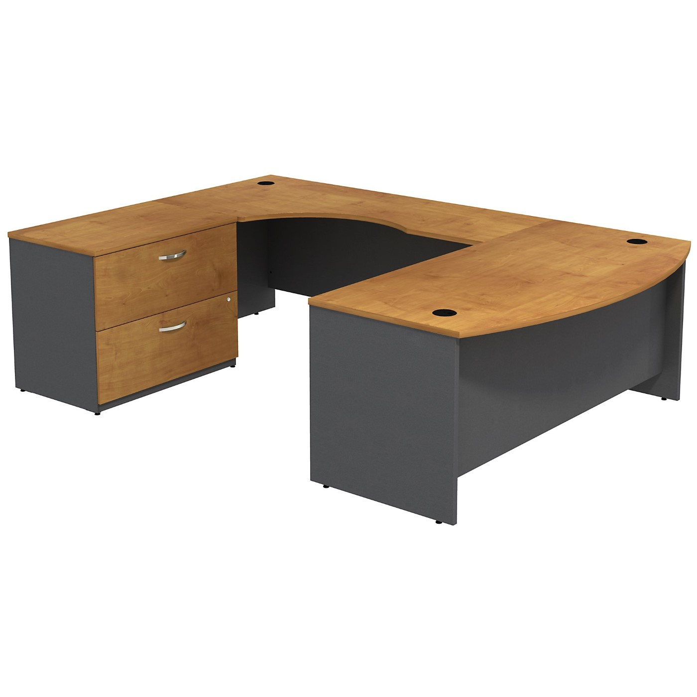 BUSH BUSINESS FURNITURE SERIES C BOW FRONT LEFT HANDED U SHAPED DESK WITH 2 DRAWER LATERAL FILE CABINET. FREE SHIPPING